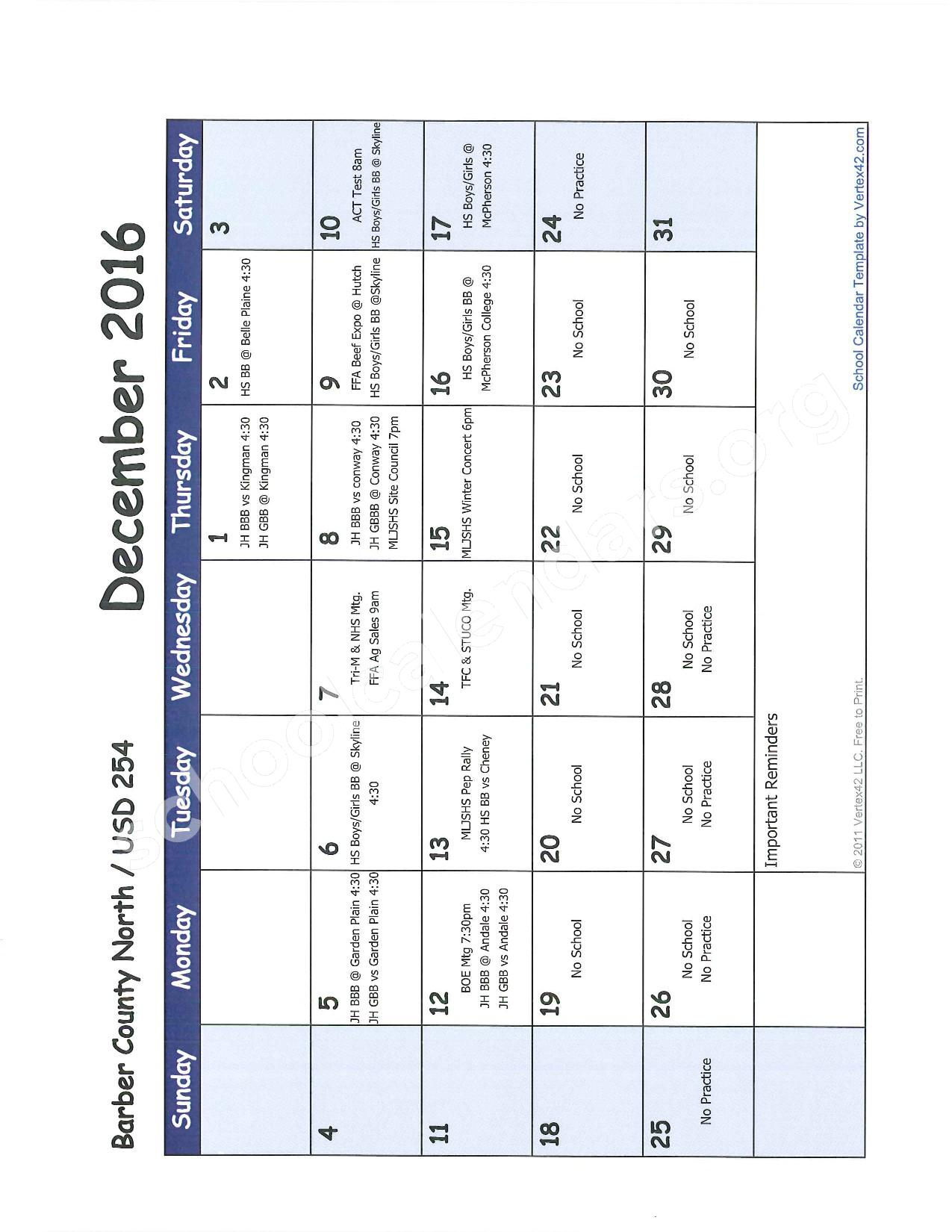 2016 -2017 School Calendar – Barber County North Unified School District 254 – page 5