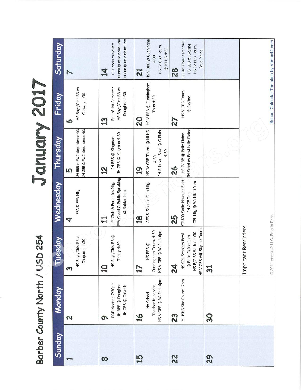 2016 -2017 School Calendar – Barber County North Unified School District 254 – page 6