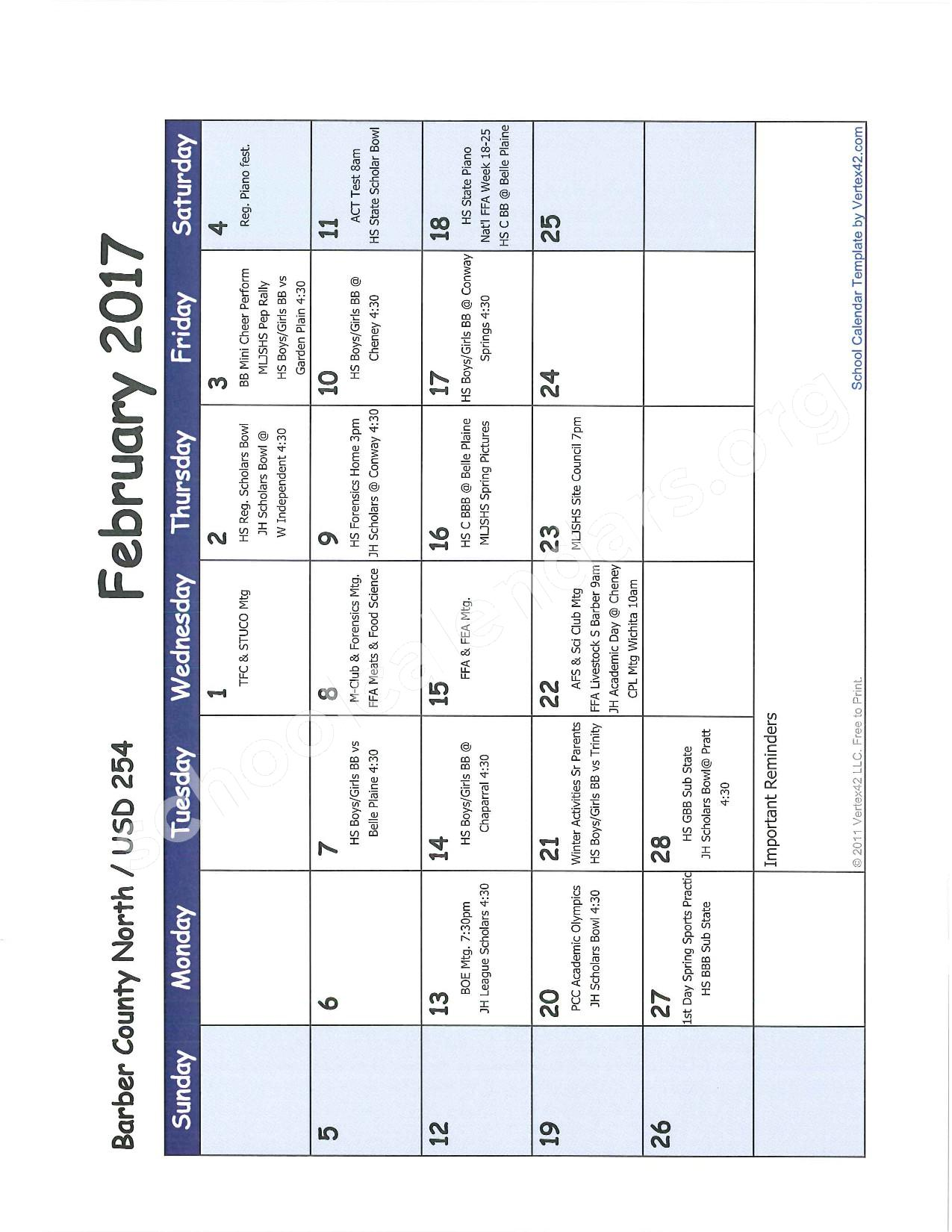 2016 -2017 School Calendar – Barber County North Unified School District 254 – page 7