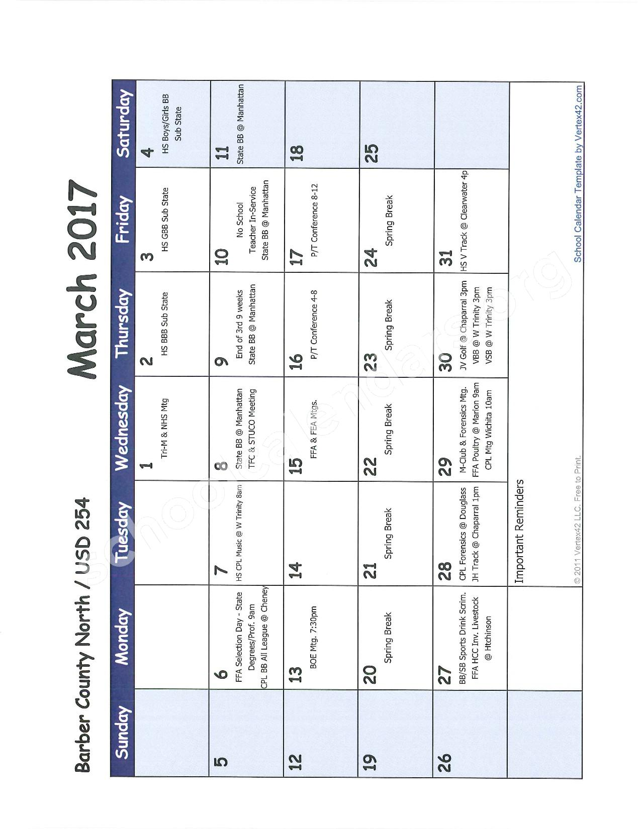 2016 -2017 School Calendar – Barber County North Unified School District 254 – page 8