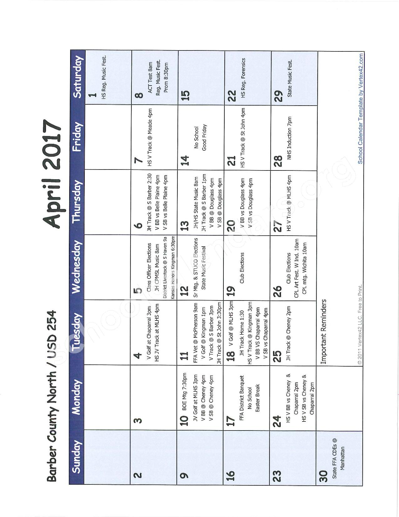 2016 -2017 School Calendar – Barber County North Unified School District 254 – page 9