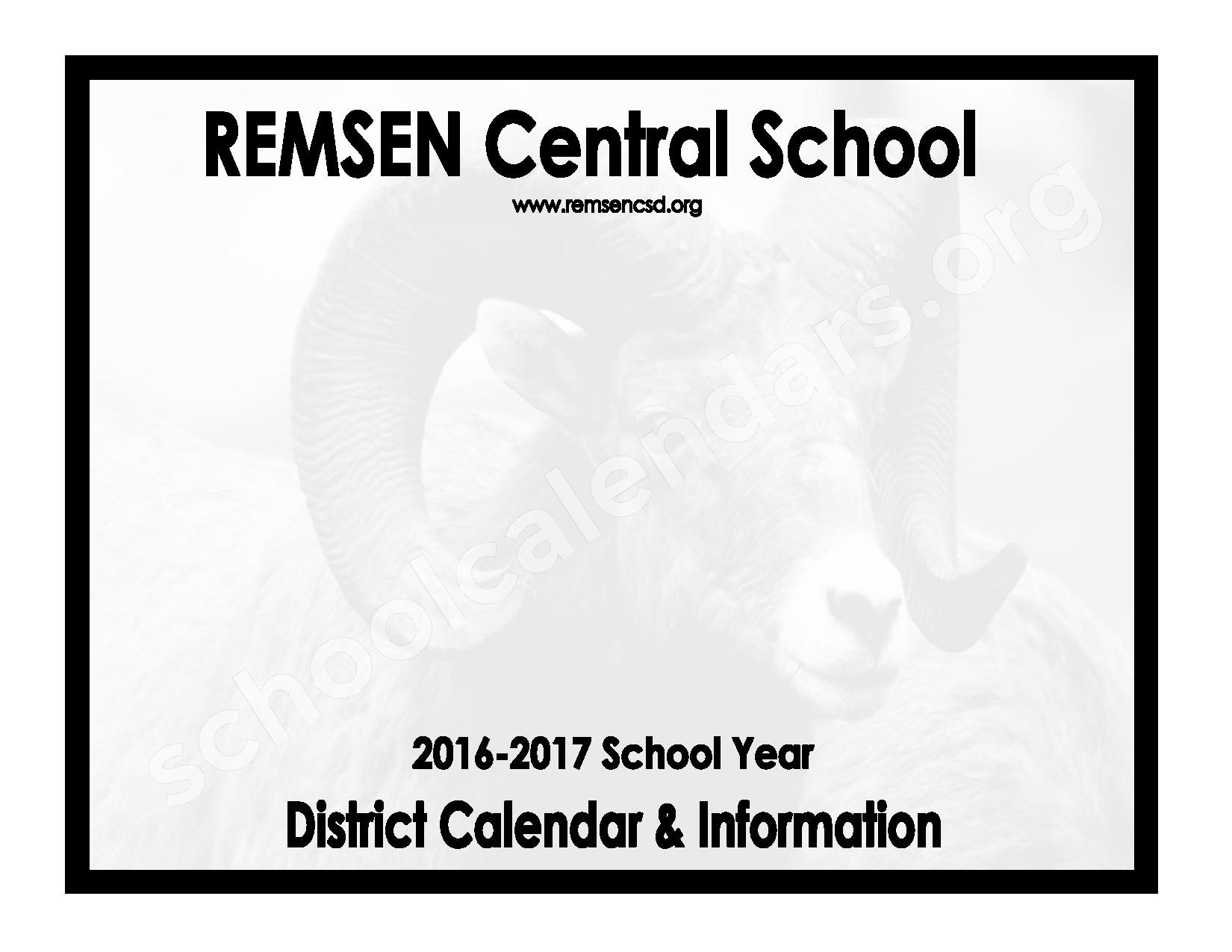 2016 - 2017 District Calendar – Remsen Central School District – page 1