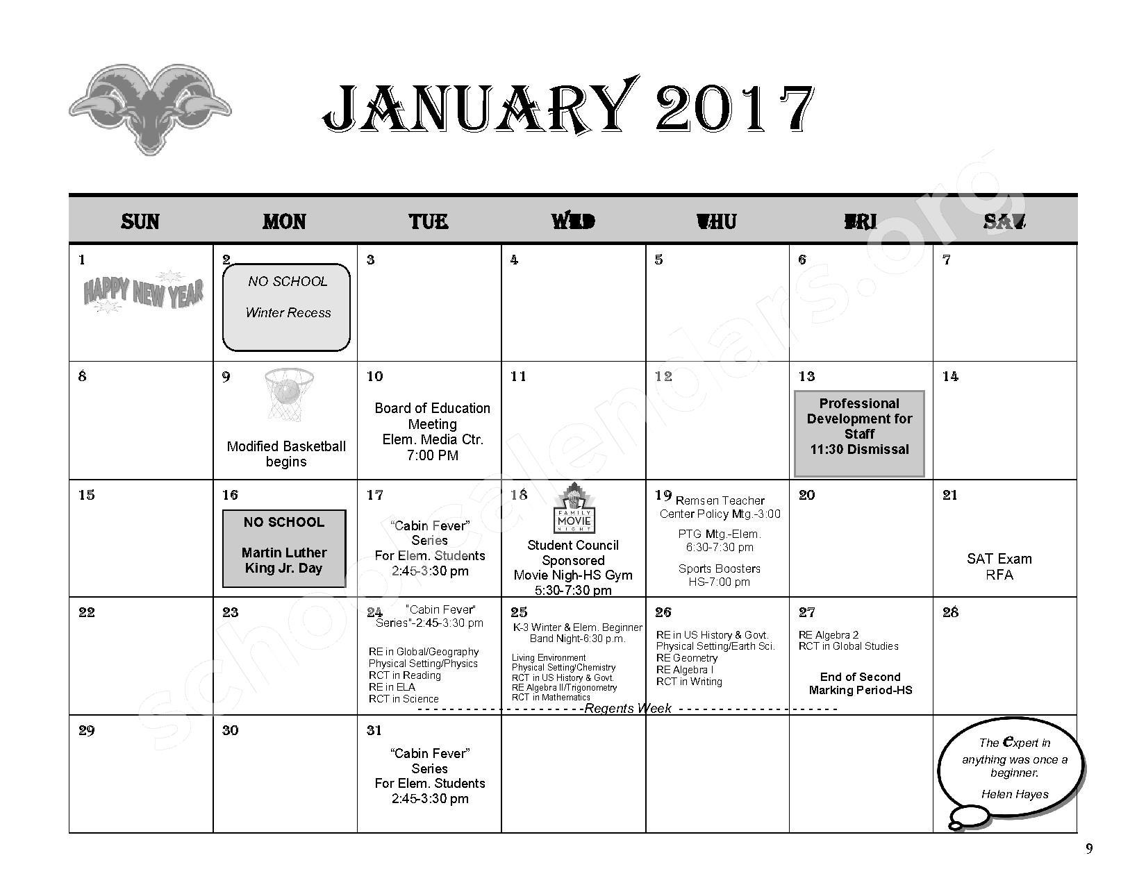 2016 - 2017 District Calendar – Remsen Central School District – page 11