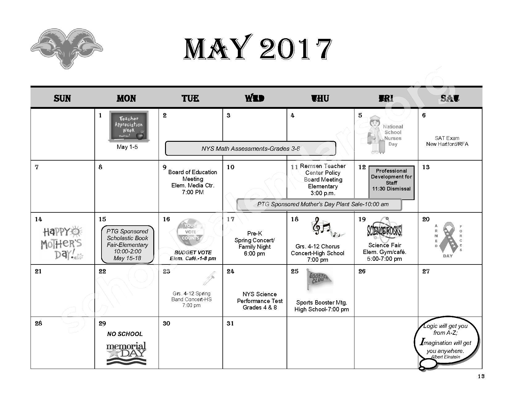 2016 - 2017 District Calendar – Remsen Central School District – page 15
