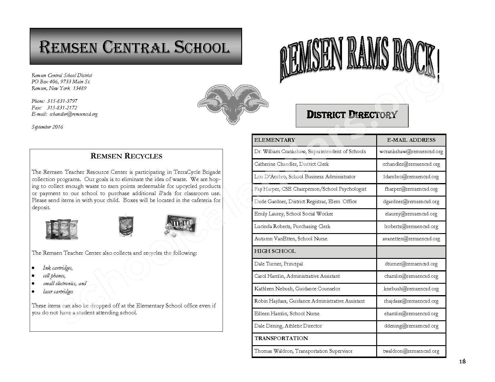 2016 - 2017 District Calendar – Remsen Central School District – page 20