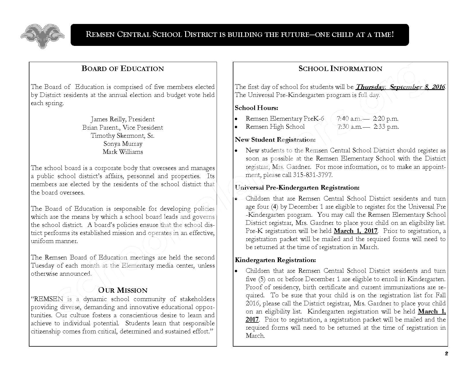 2016 - 2017 District Calendar – Remsen Central School District – page 4