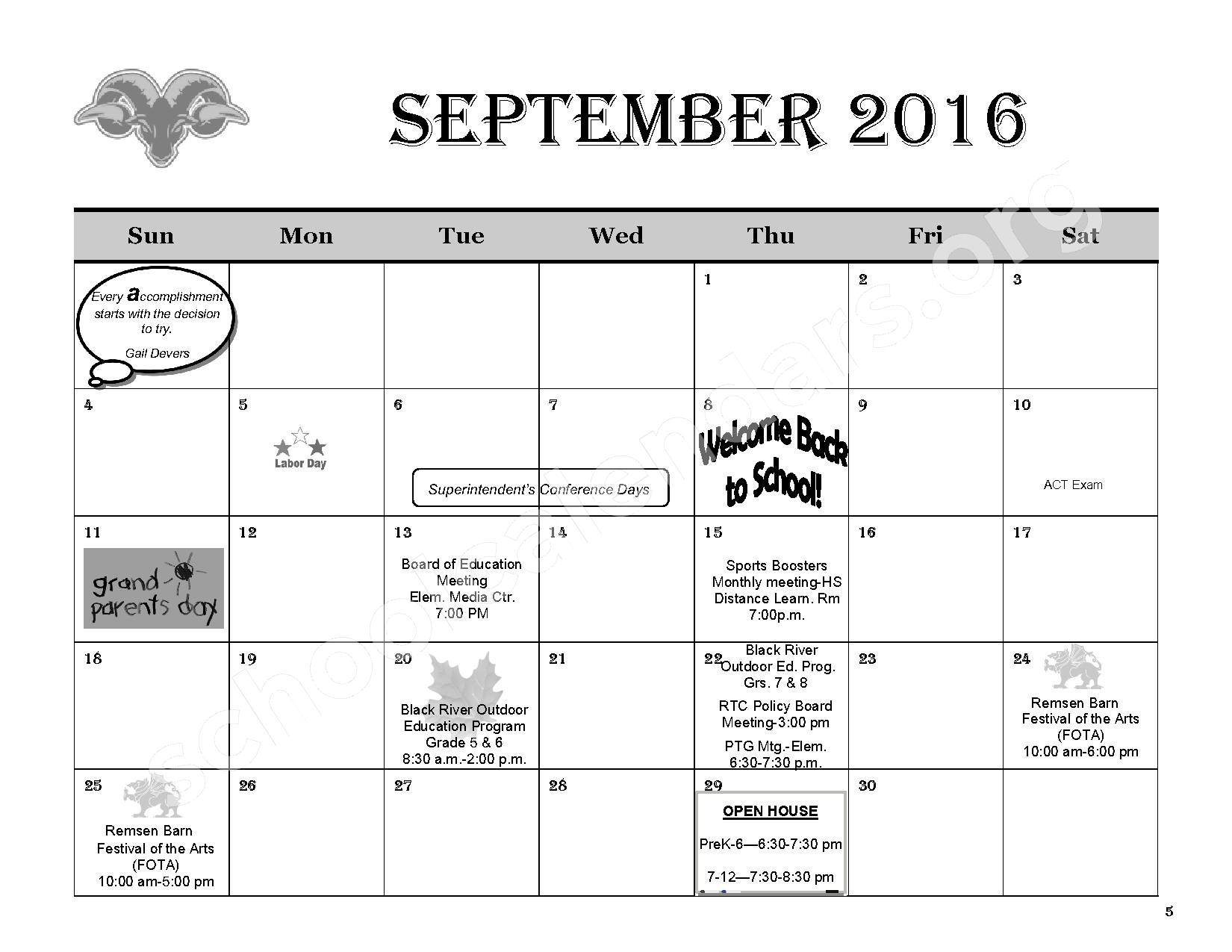 2016 - 2017 District Calendar – Remsen Central School District – page 7