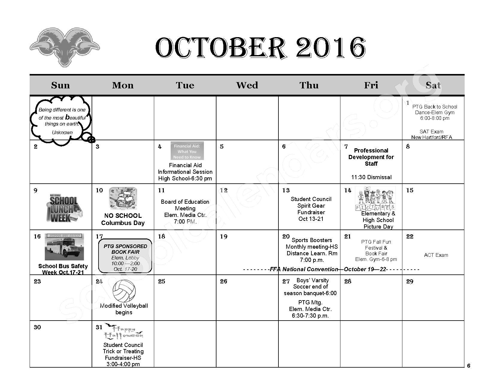 2016 - 2017 District Calendar – Remsen Central School District – page 8