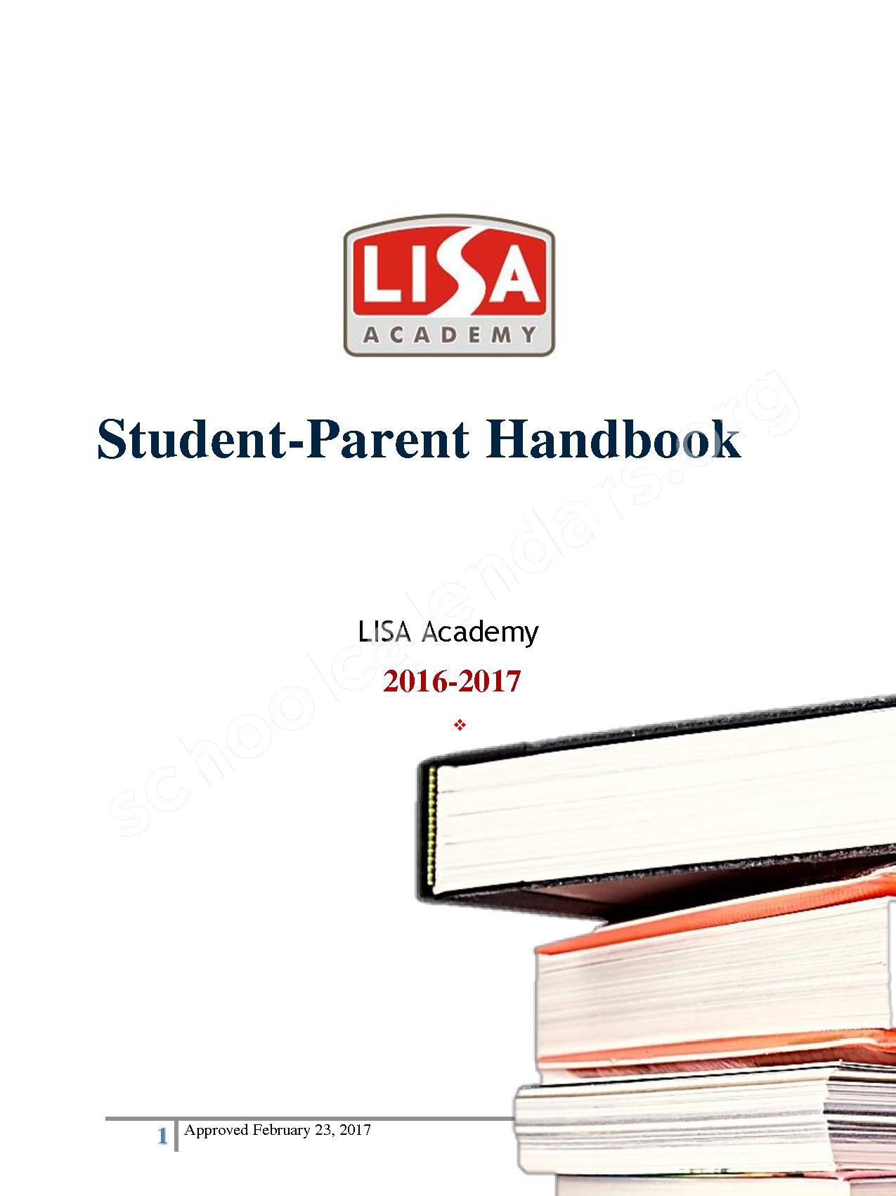 2016 - 2017 District Calendar – Lisa Academy Public Charter Schools – page 1