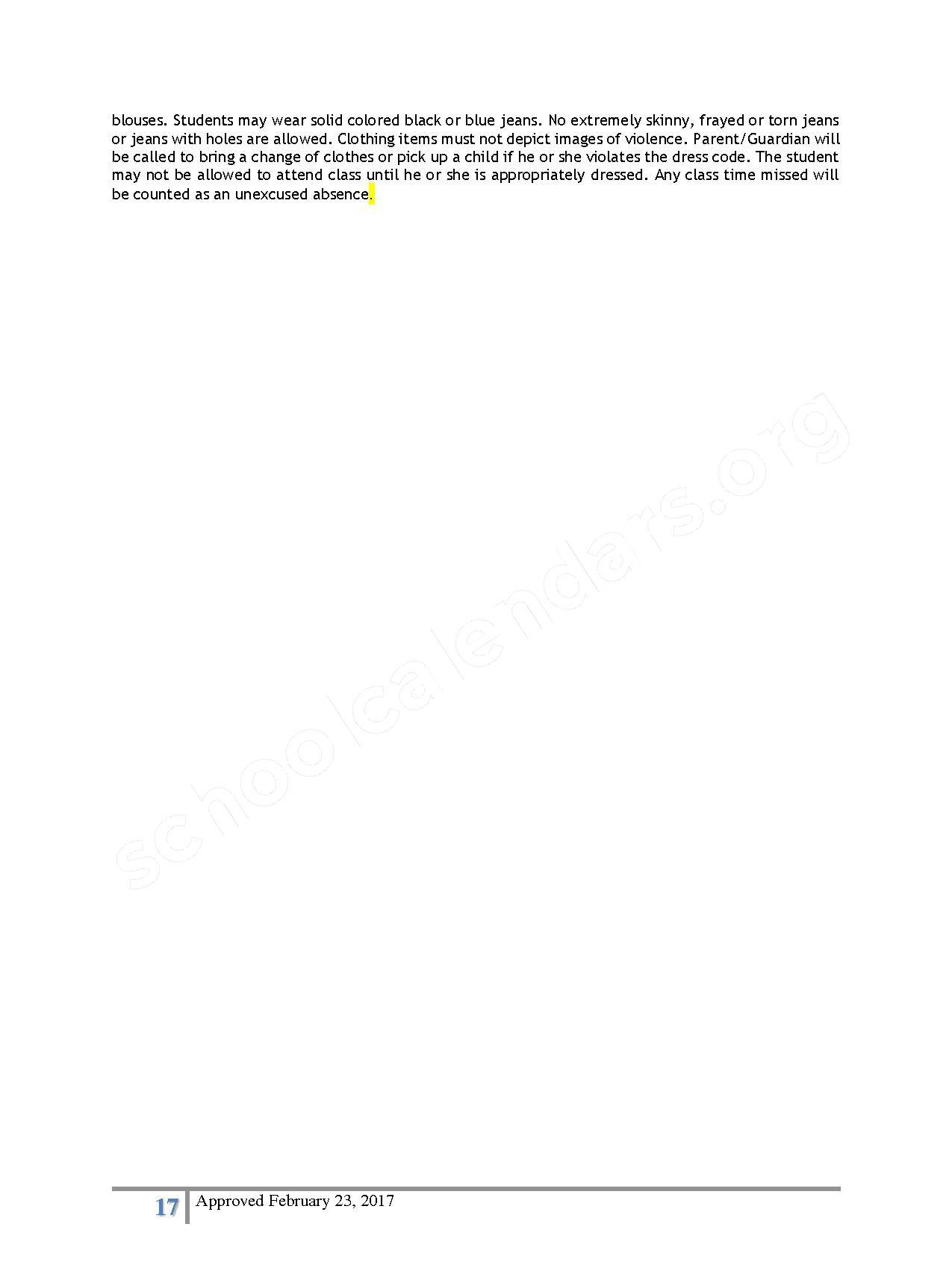 2016 - 2017 District Calendar – Lisa Academy Public Charter Schools – page 17