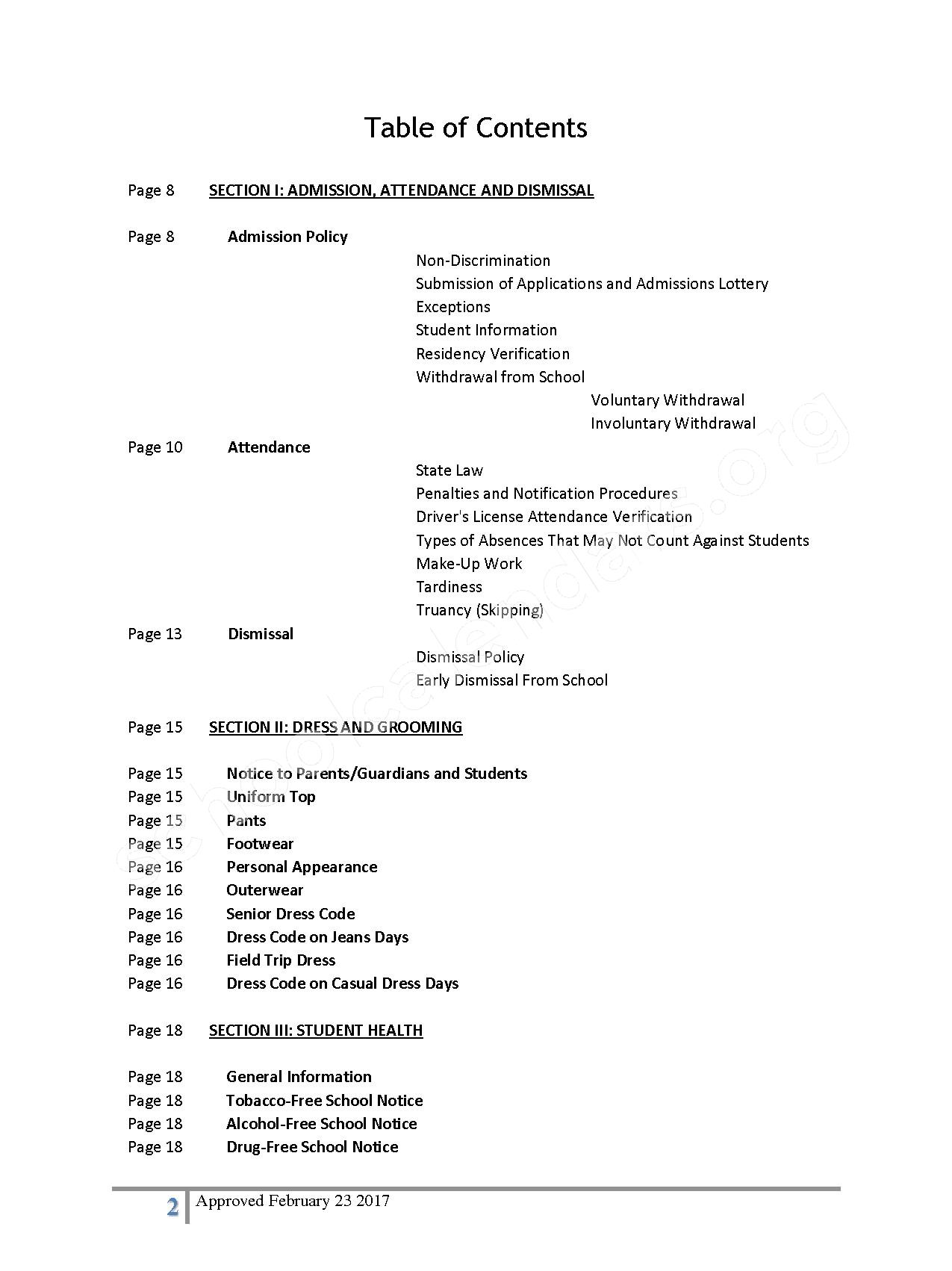 2016 - 2017 District Calendar – Lisa Academy Public Charter Schools – page 2