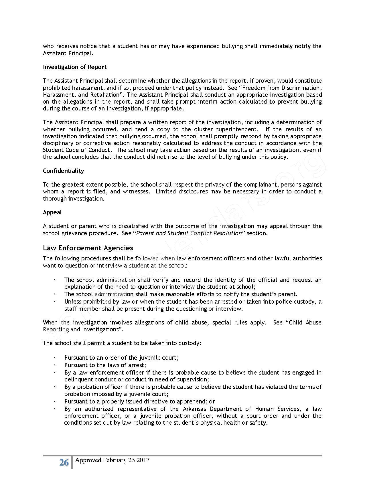 2016 - 2017 District Calendar – Lisa Academy Public Charter Schools – page 26
