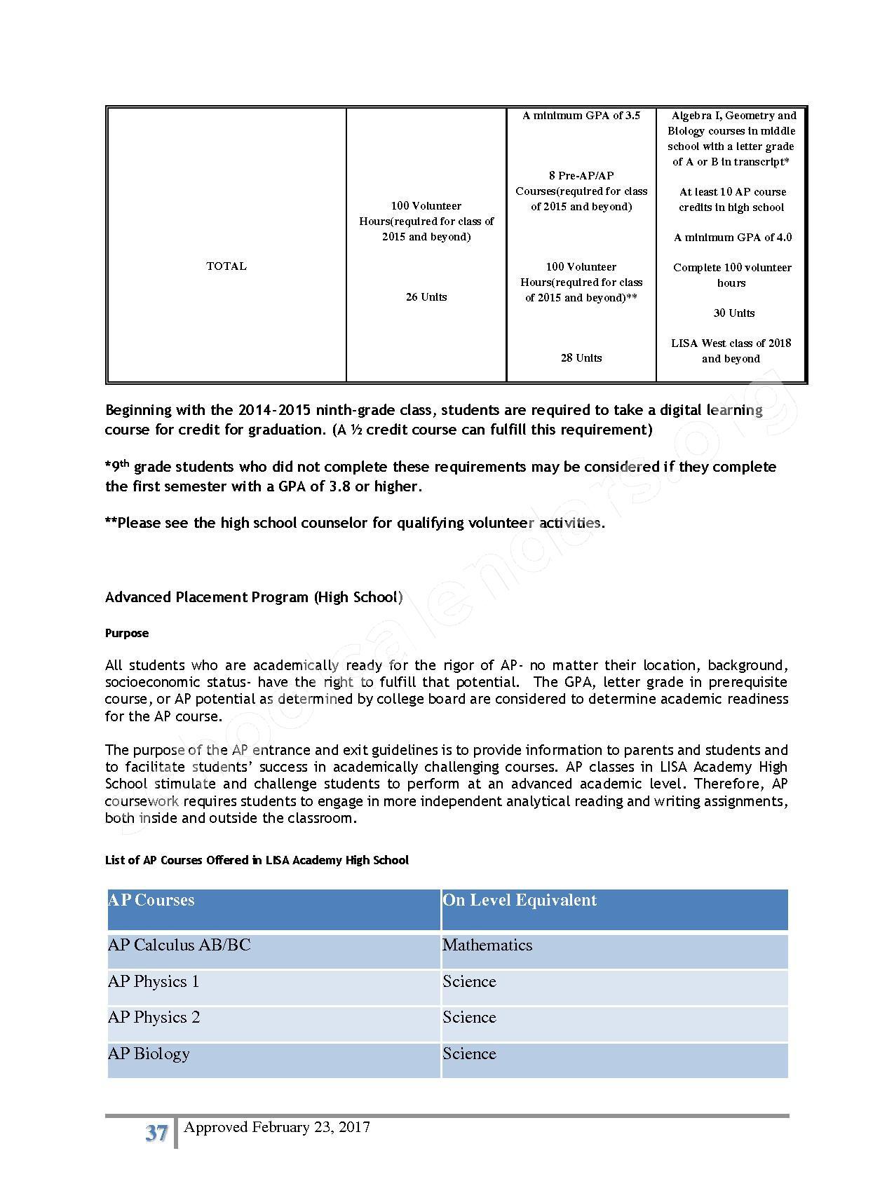 2016 - 2017 District Calendar – Lisa Academy Public Charter Schools – page 37