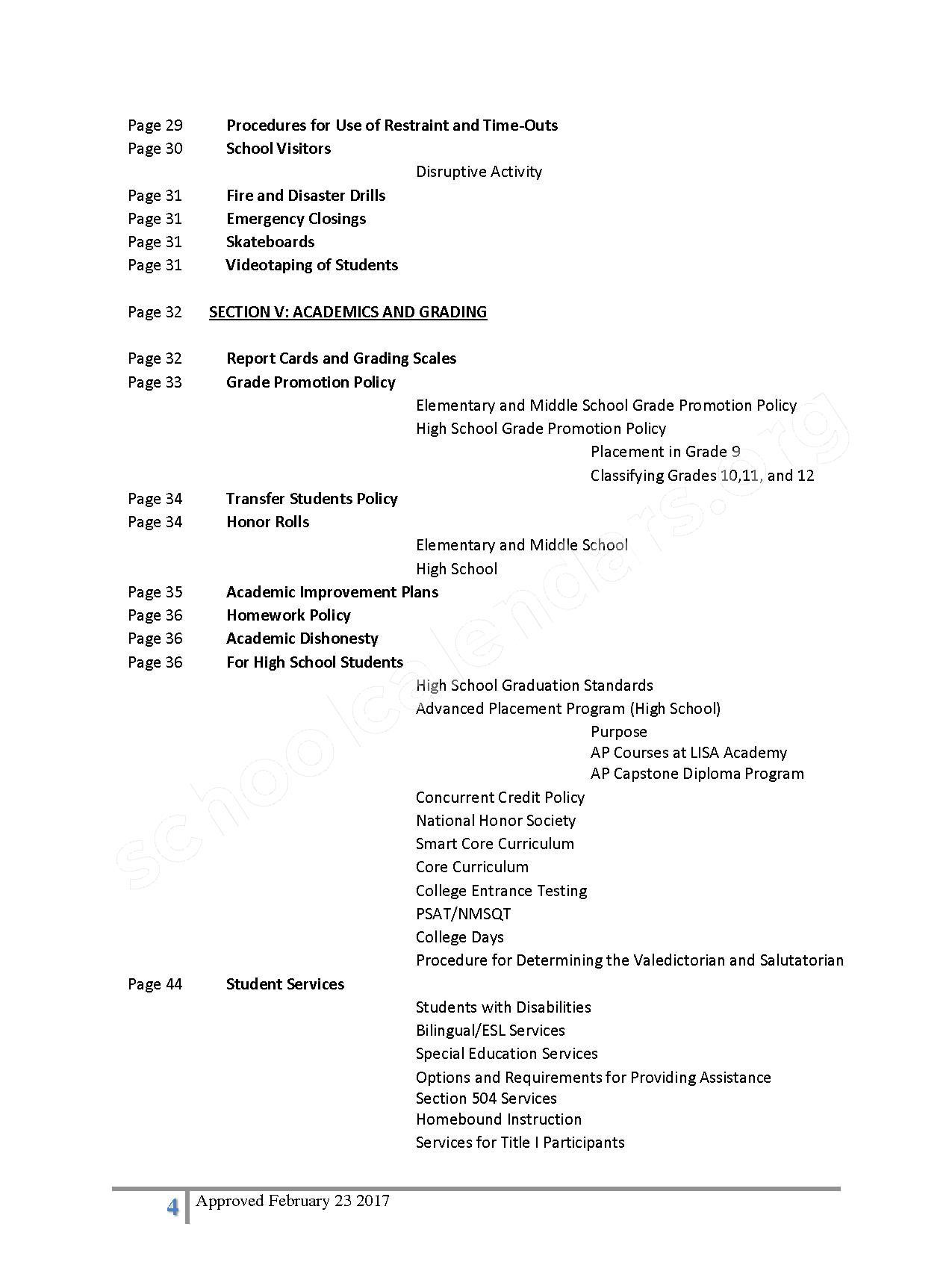 2016 - 2017 District Calendar – Lisa Academy Public Charter Schools – page 4