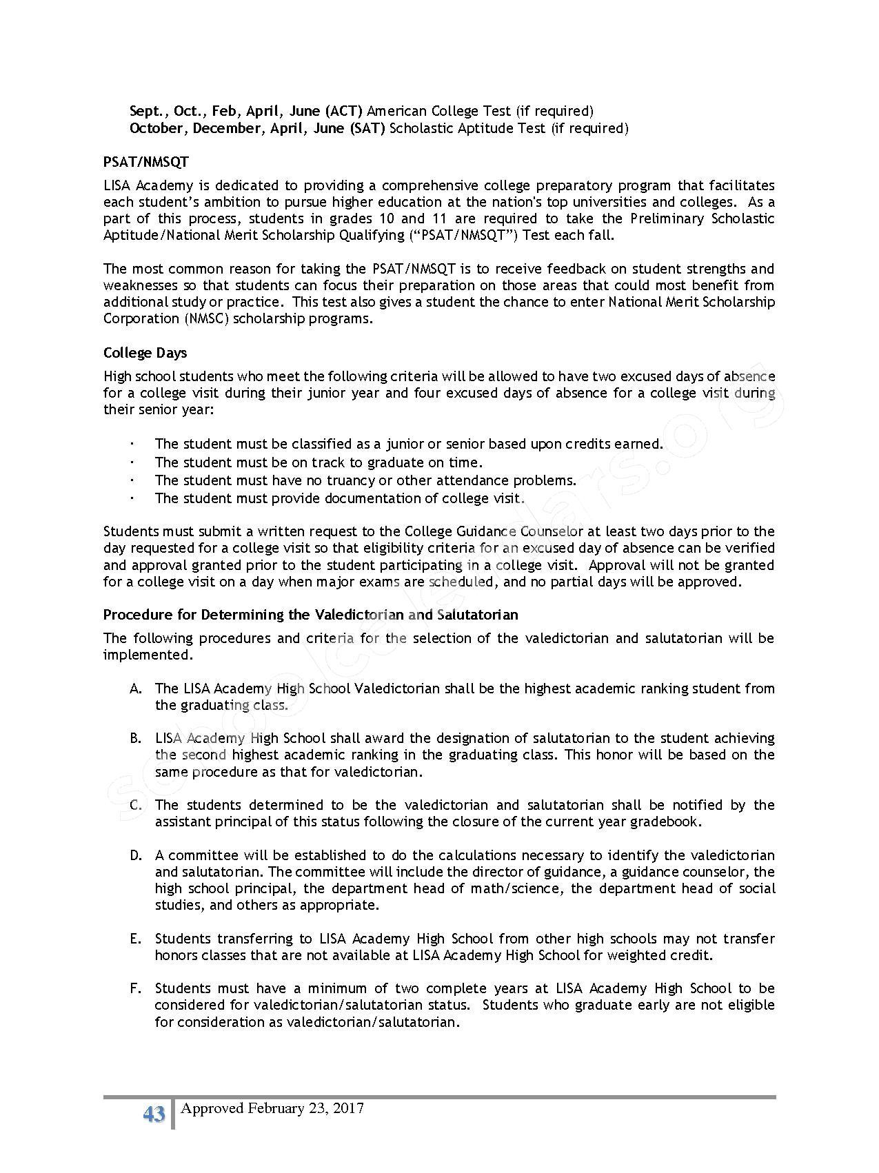 2016 - 2017 District Calendar – Lisa Academy Public Charter Schools – page 43