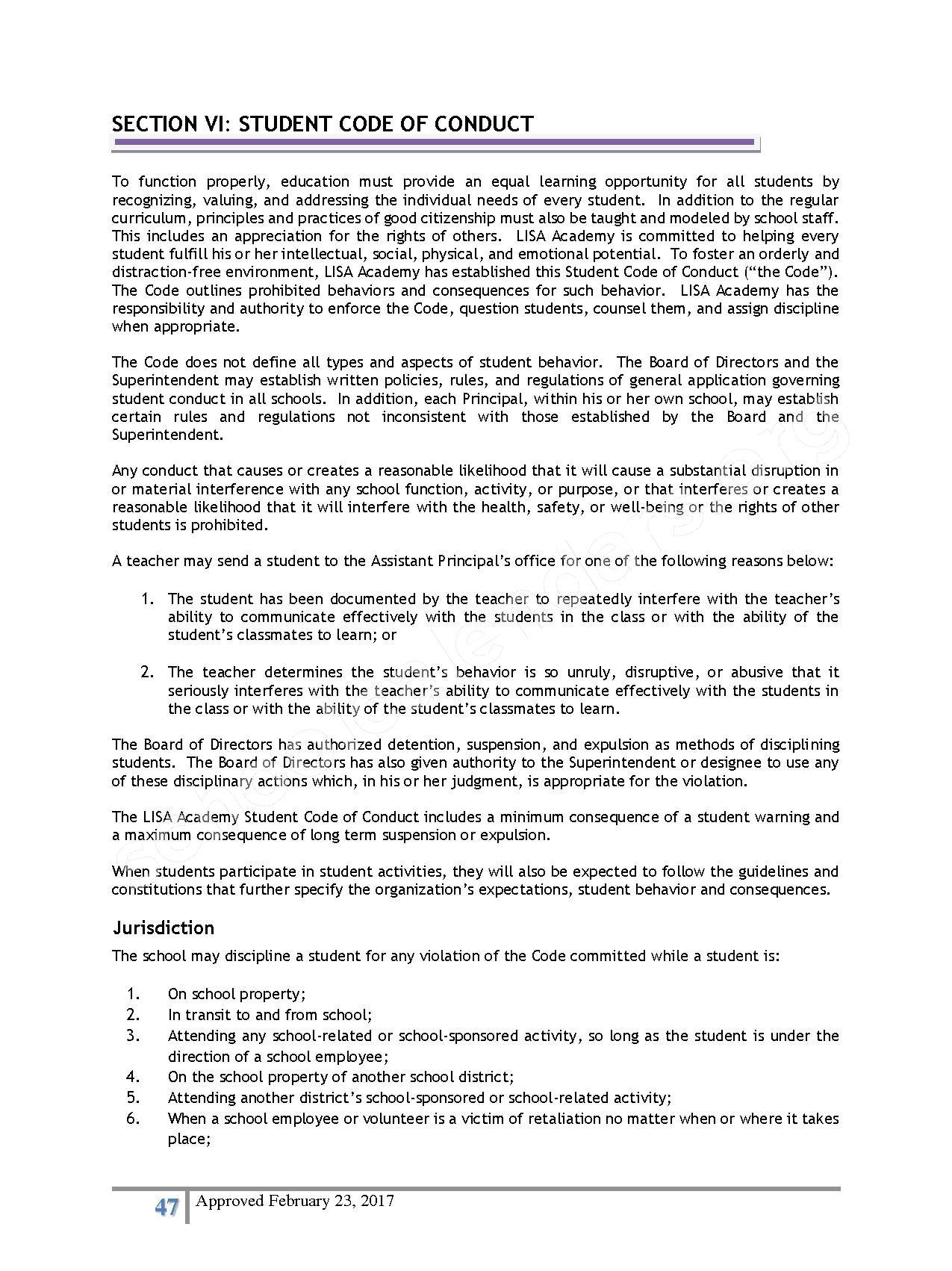 2016 - 2017 District Calendar – Lisa Academy Public Charter Schools – page 47