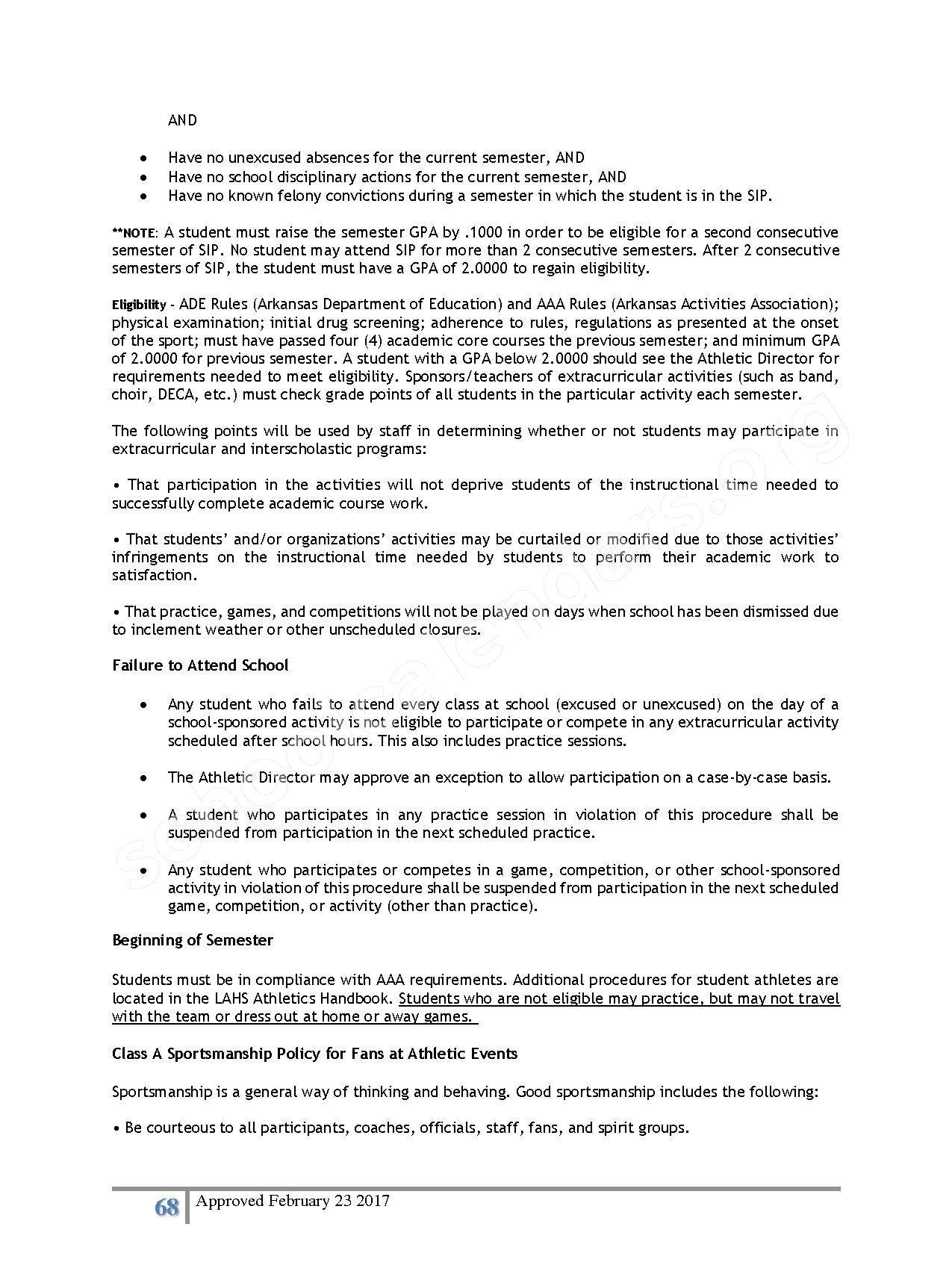 2016 - 2017 District Calendar – Lisa Academy Public Charter Schools – page 68