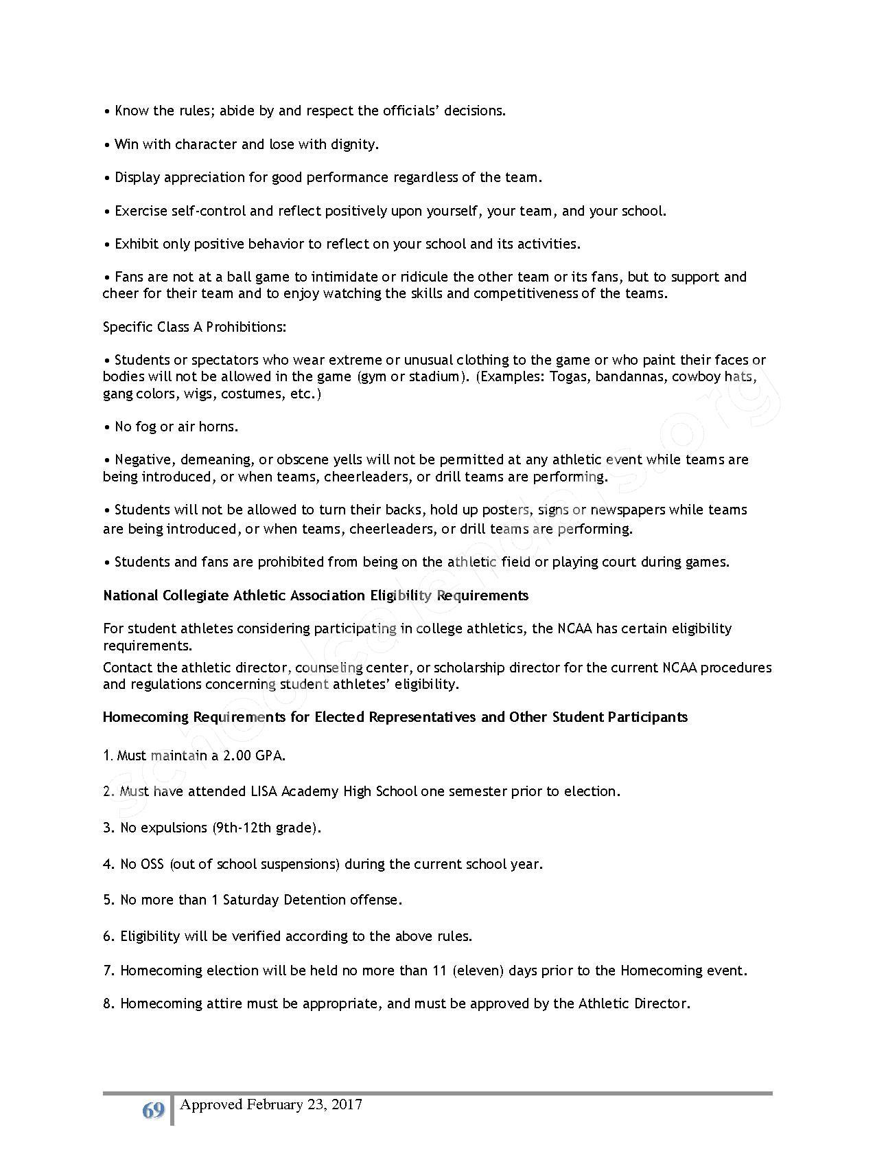 2016 - 2017 District Calendar – Lisa Academy Public Charter Schools – page 69