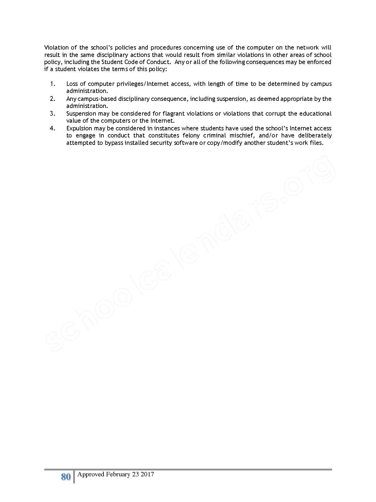 2016 - 2017 District Calendar – Lisa Academy Public Charter Schools – page 80