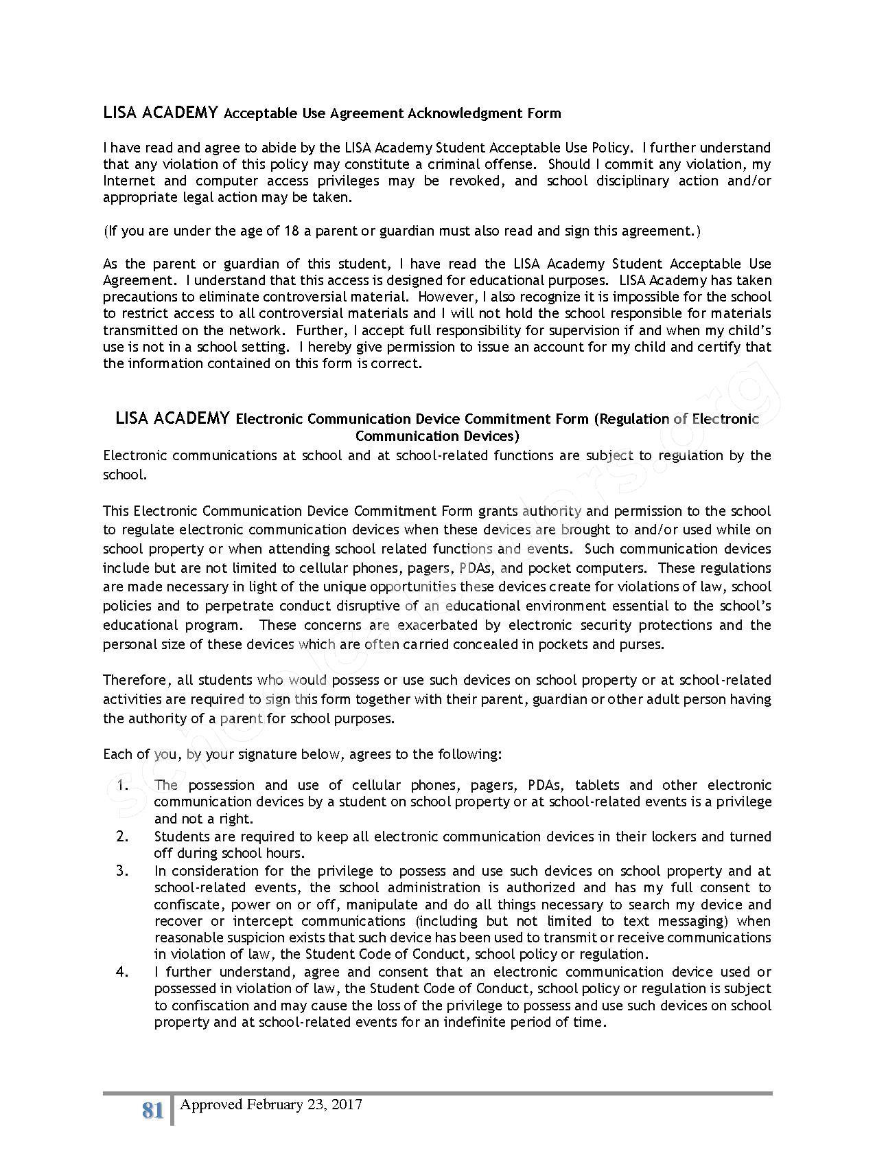 2016 - 2017 District Calendar – Lisa Academy Public Charter Schools – page 81