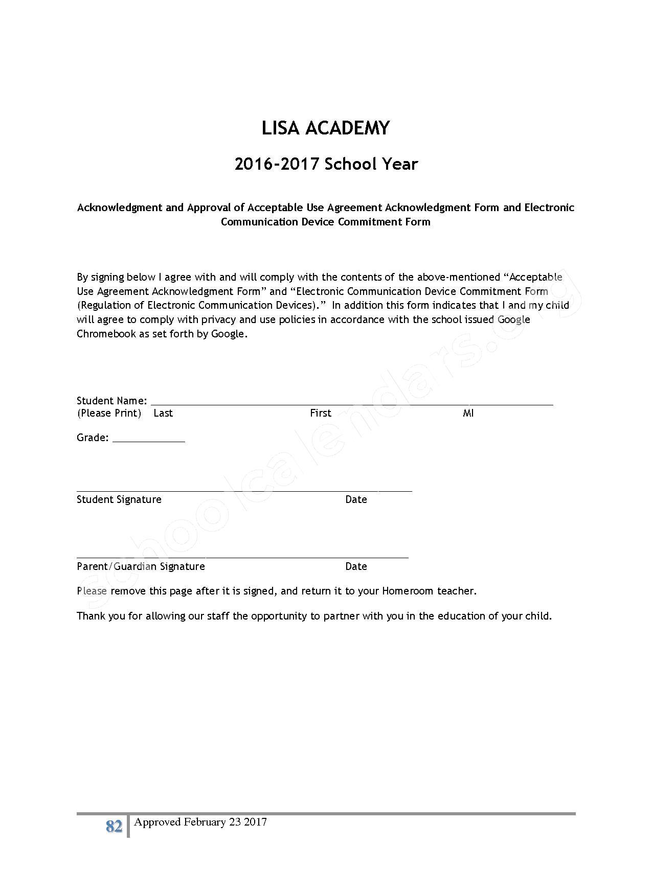 2016 - 2017 District Calendar – Lisa Academy Public Charter Schools – page 82