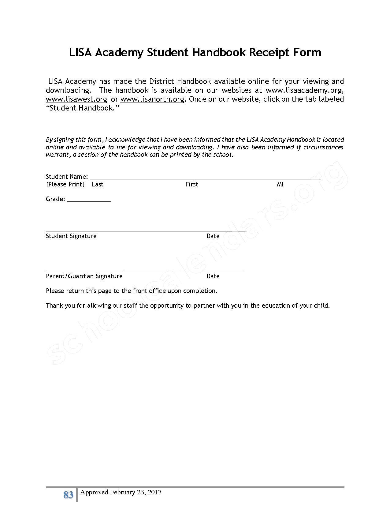 2016 - 2017 District Calendar – Lisa Academy Public Charter Schools – page 83
