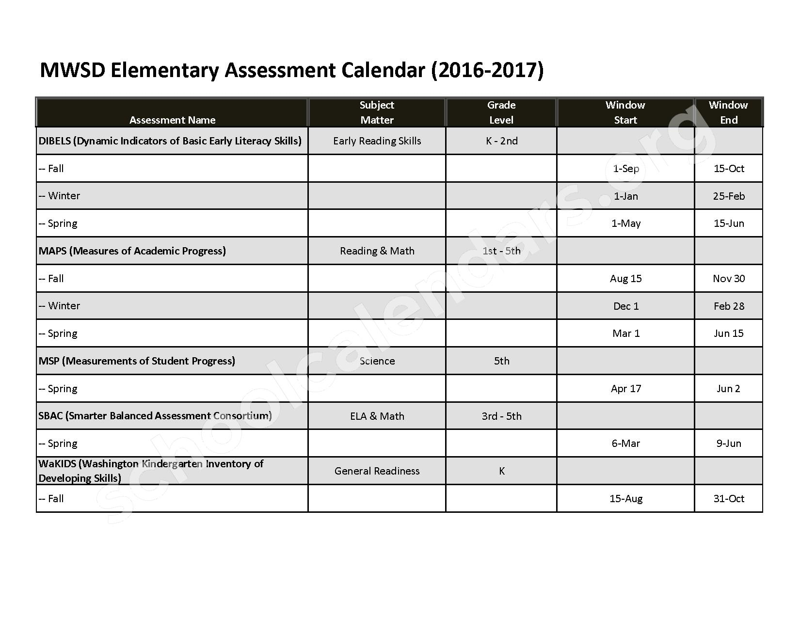 2017 - 2018 Springdale Elementary Calendar – Mary Walker School District – page 1