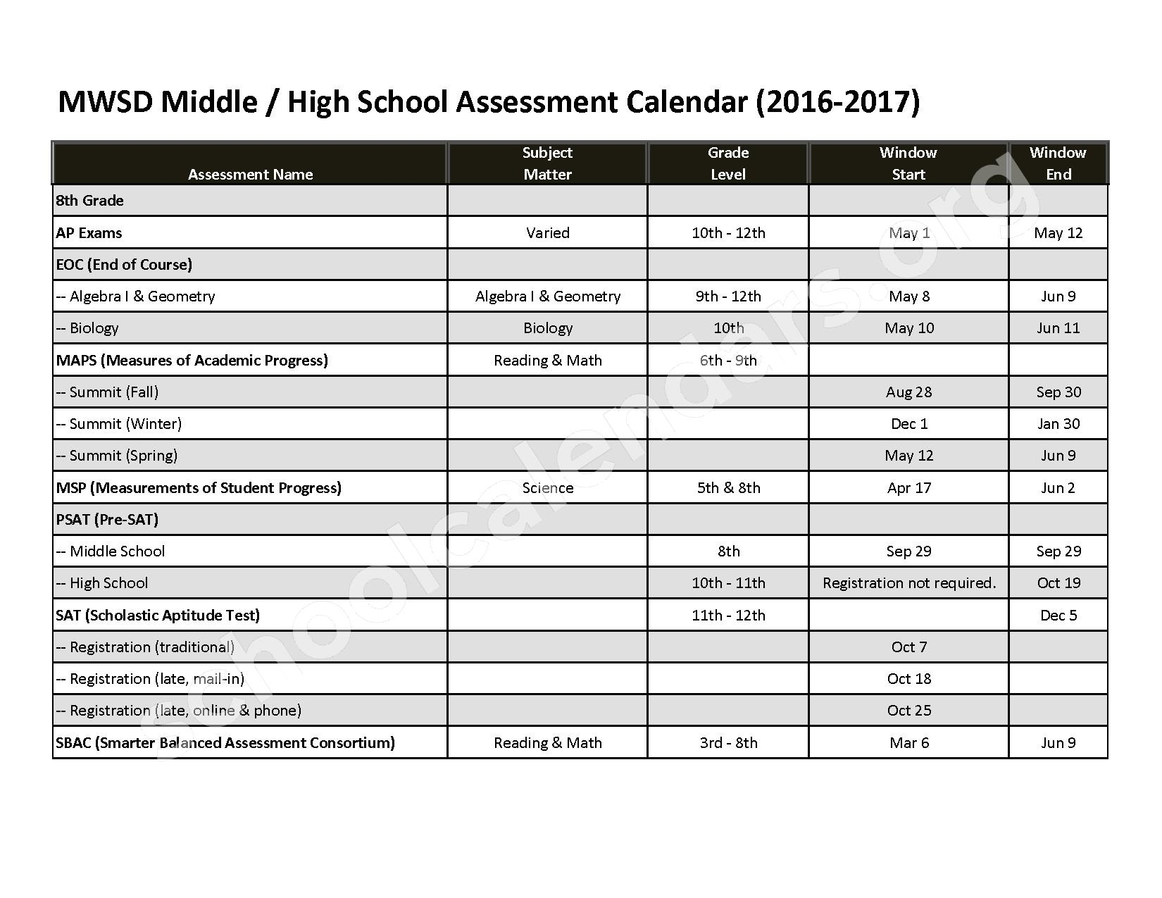 2017 - 2018 Springdale Middle & Mary Walker High Calendar – Mary Walker School District – page 1