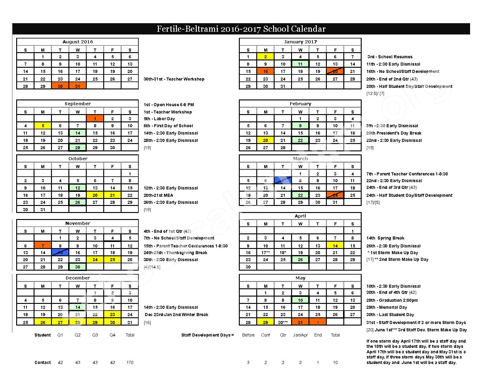 2016 - 2017 District Calendar – Fertile-Beltrami School District – page 1