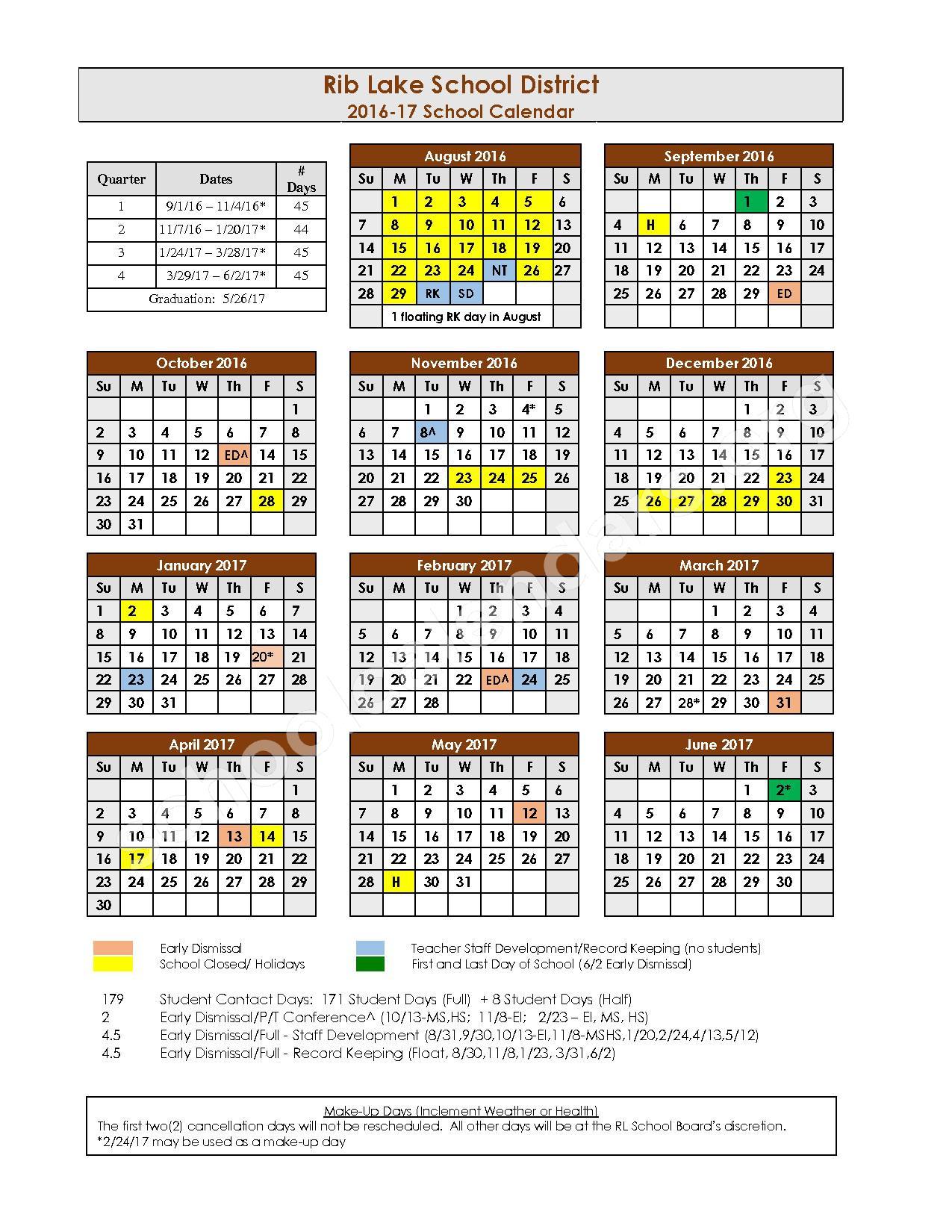 2016 - 2017 School Calendar – Rib Lake School District – page 1