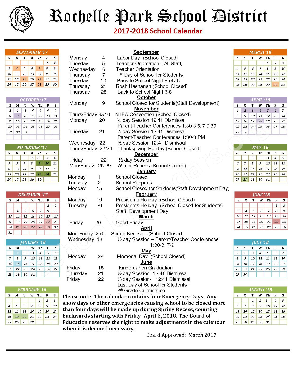2017 - 2018 School Calendar – Rochelle Park School District – page 1