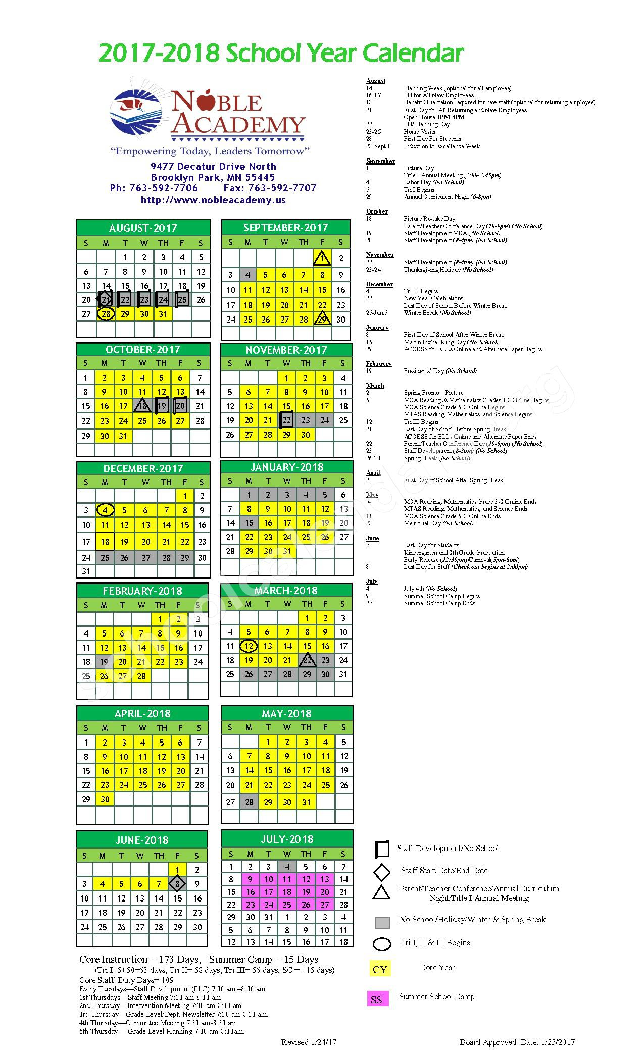 2017 - 2018 School Calendar(revised 2.1.17) – Noble Academy – page 1