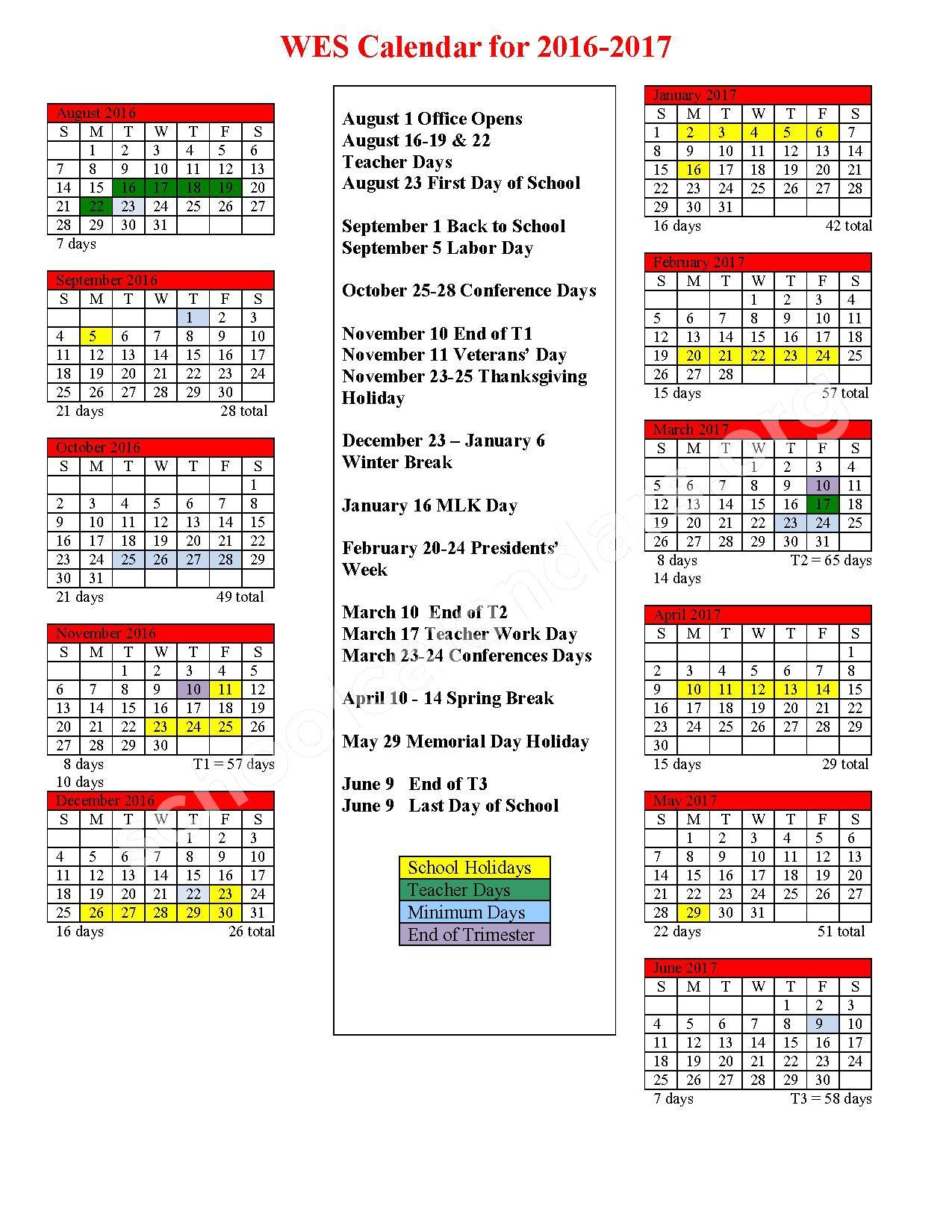 2016 - 2017 School Calendar – Woodside Elementary School District – page 1