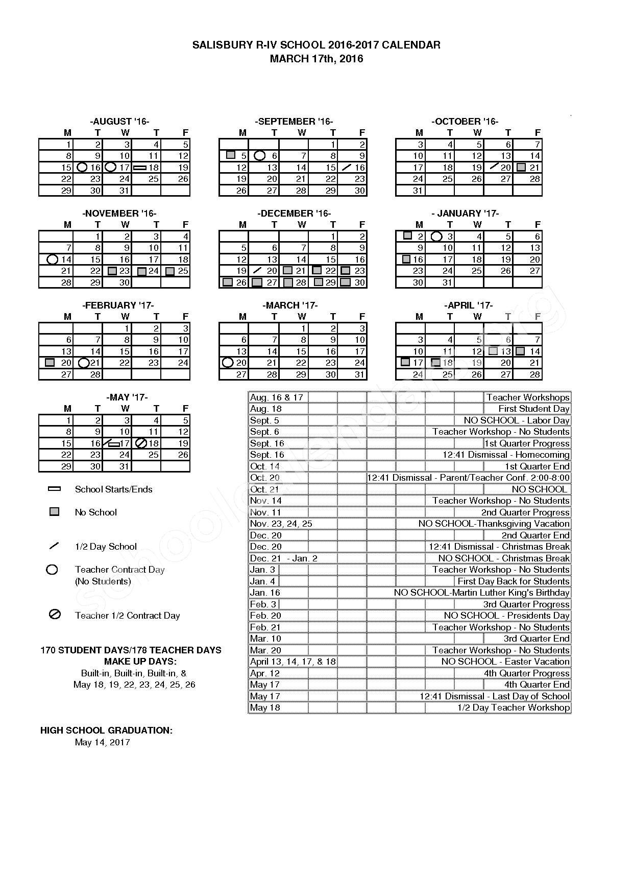 2016 - 2017 School Calendar – Salisbury R-IV School District – page 1