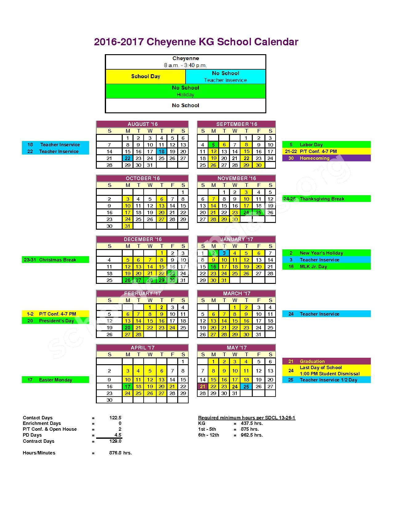 2016 - 2017 School Calendar – Stanley County School District 57-1 – page 1