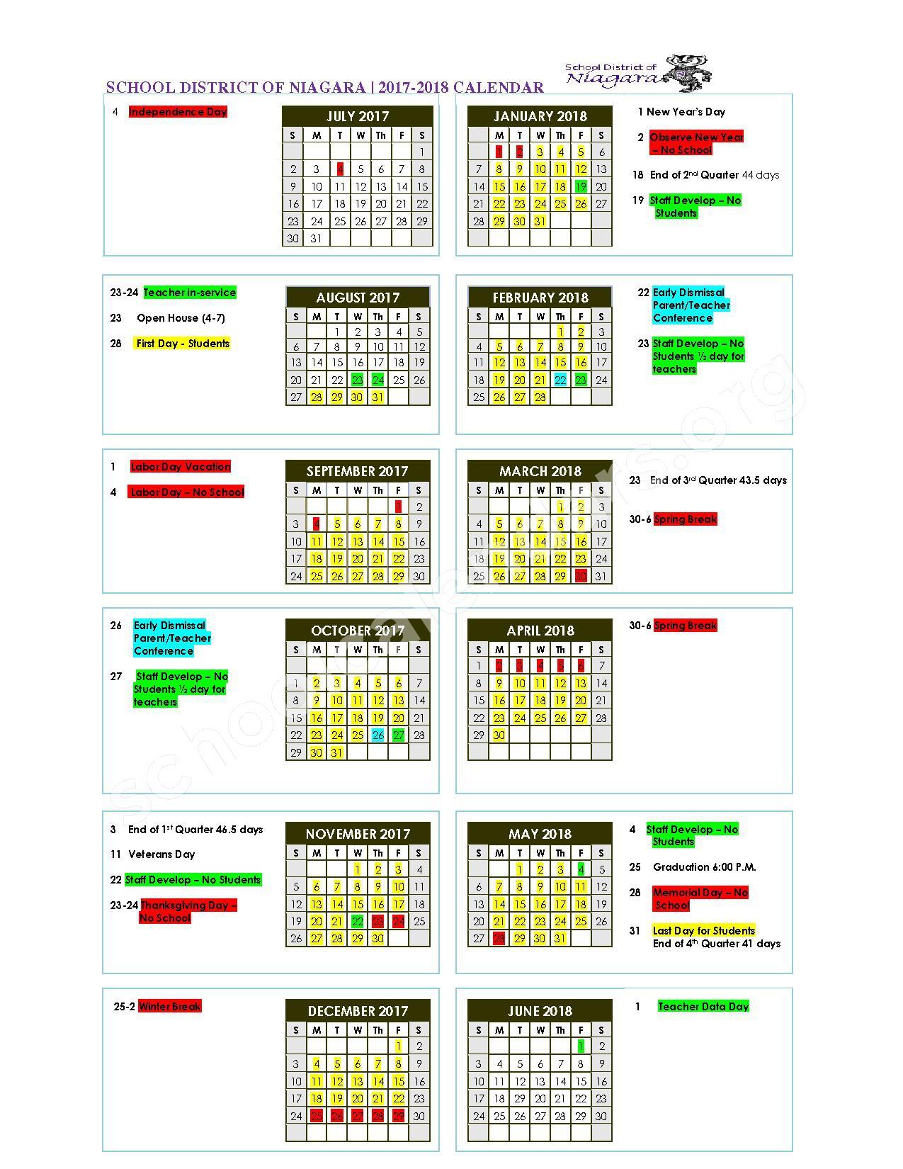 2017 - 2018 School Calendar – Niagara School District – page 1