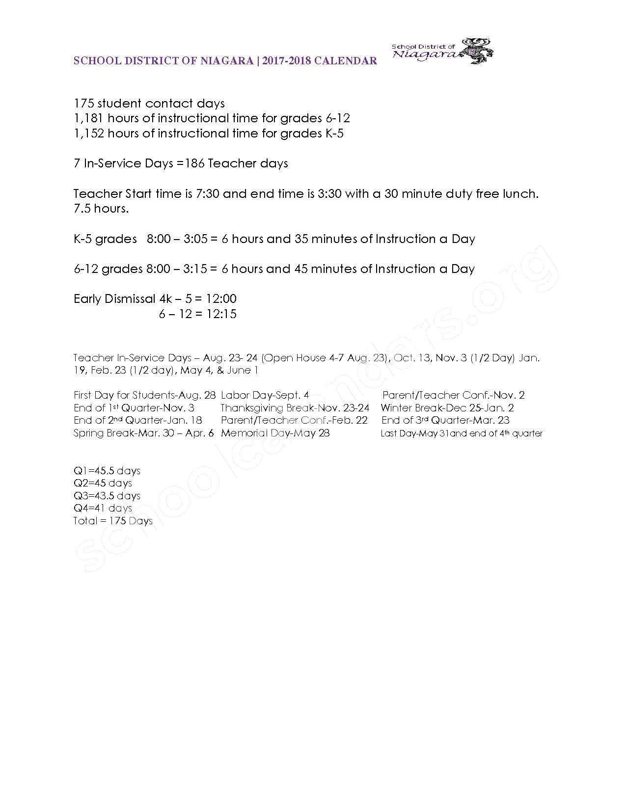2017 - 2018 School Calendar – Niagara School District – page 2