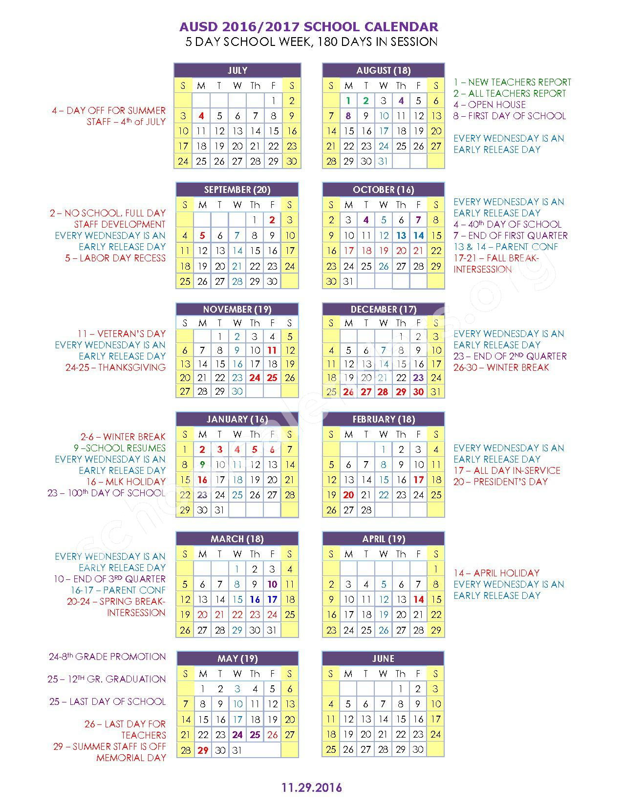 2016 - 2017 School Calendar – Ajo Unified School District – page 1
