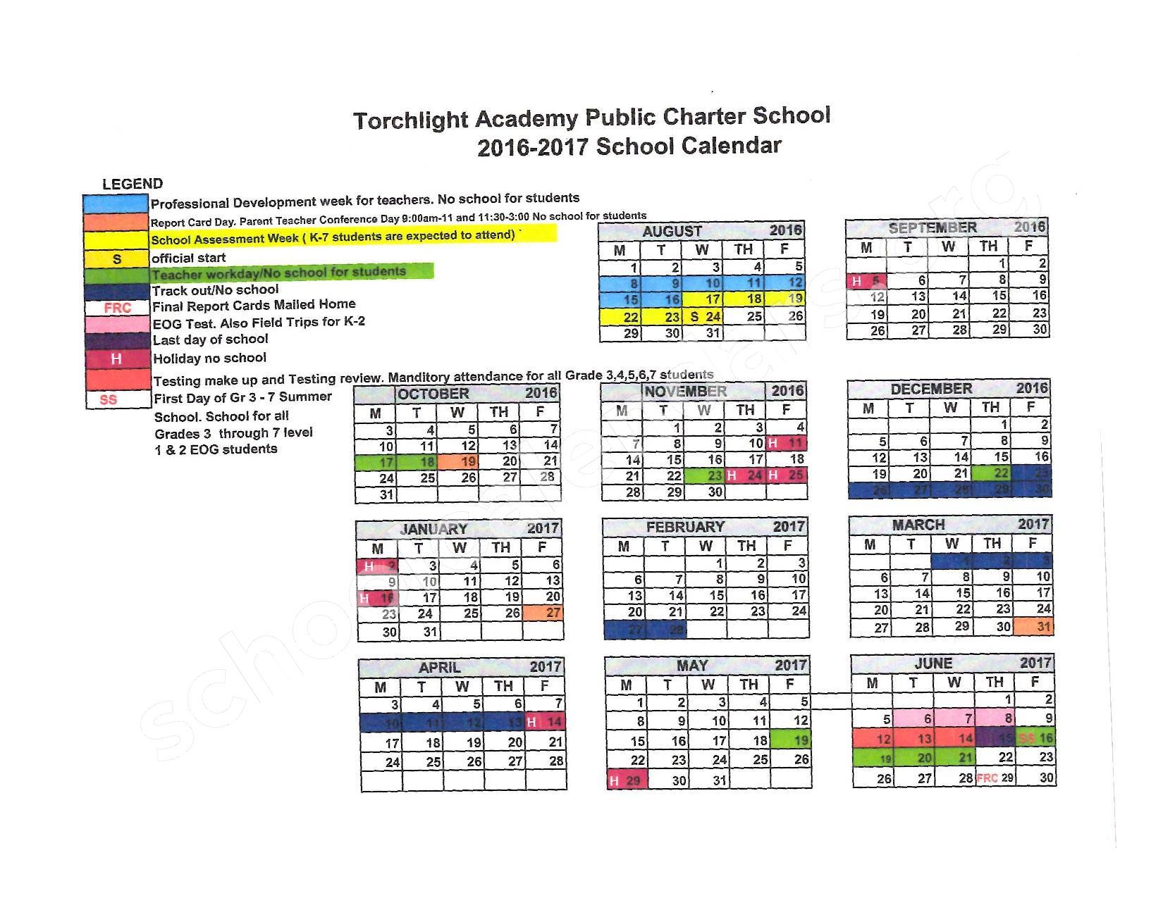 2016 - 2017 School Calendar – Torchlight Academy – page 1