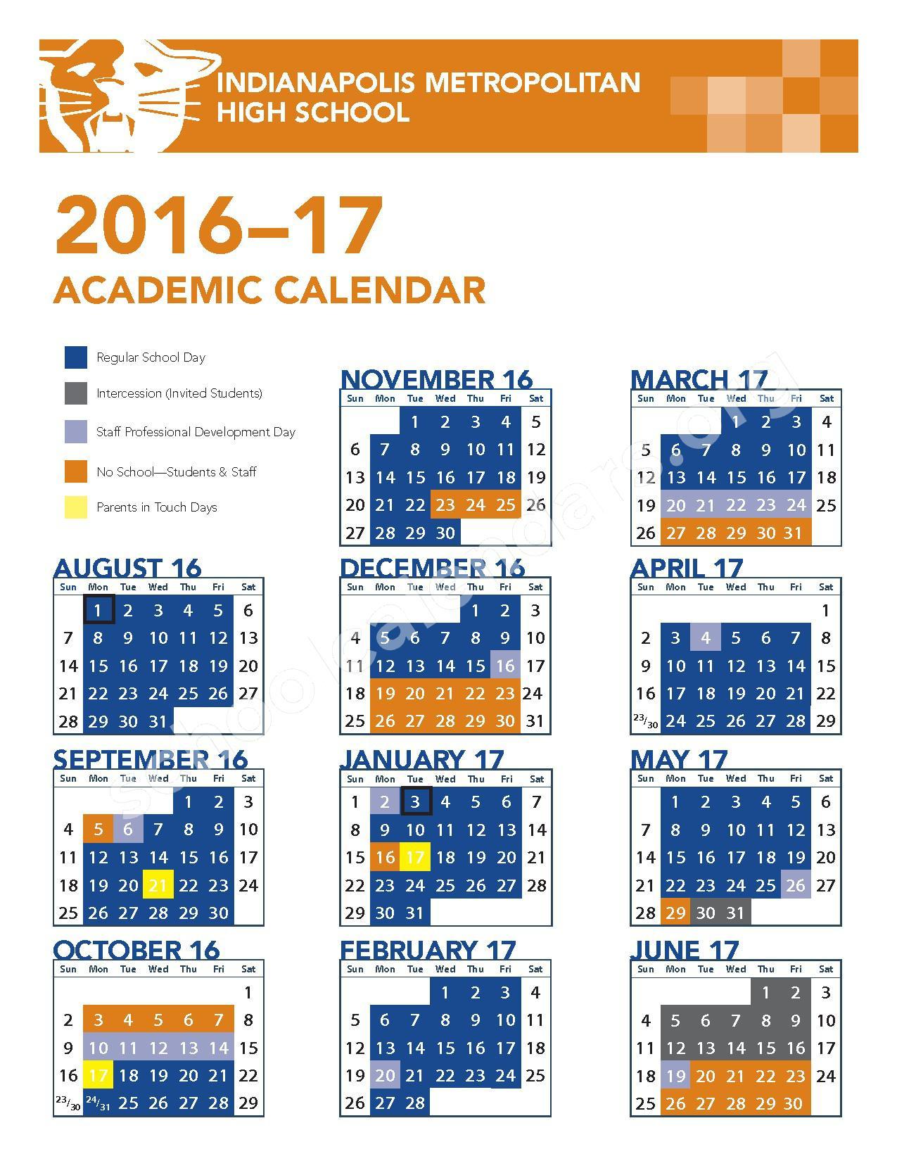 2016 - 2017 Academic Calendar – Indianapolis Metropolitan High School – page 1