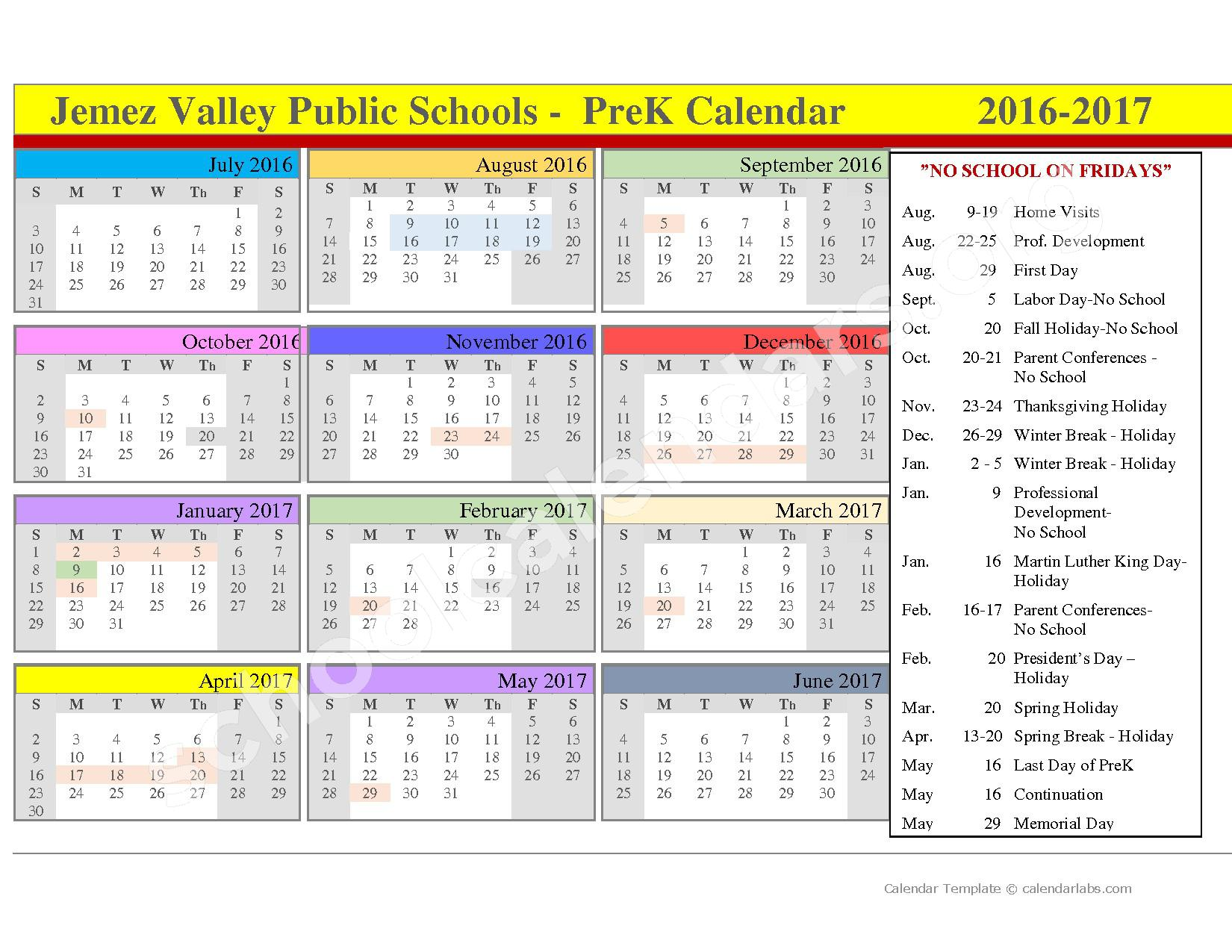 2016 - 2017 School Calendar – Jemez Valley High School – page 1