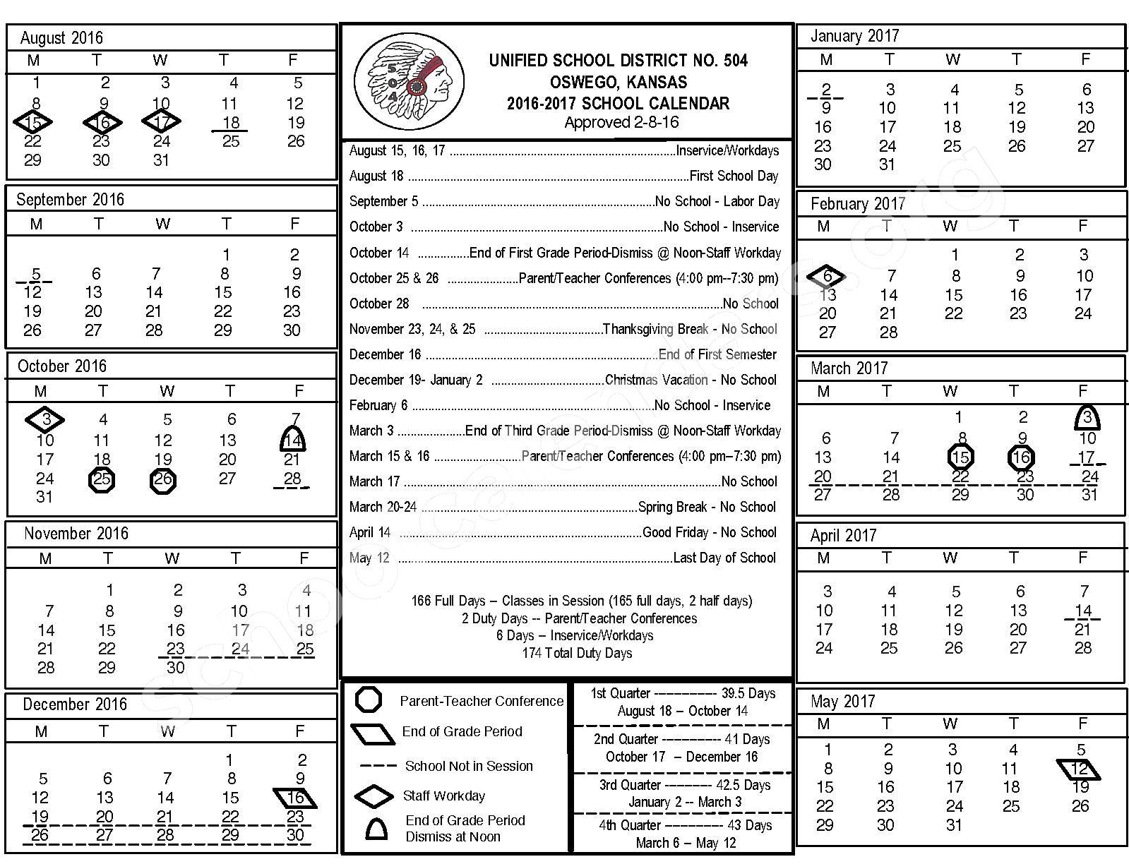 2016 - 2017 Calendar – Oswego Unified School District 504 – page 1