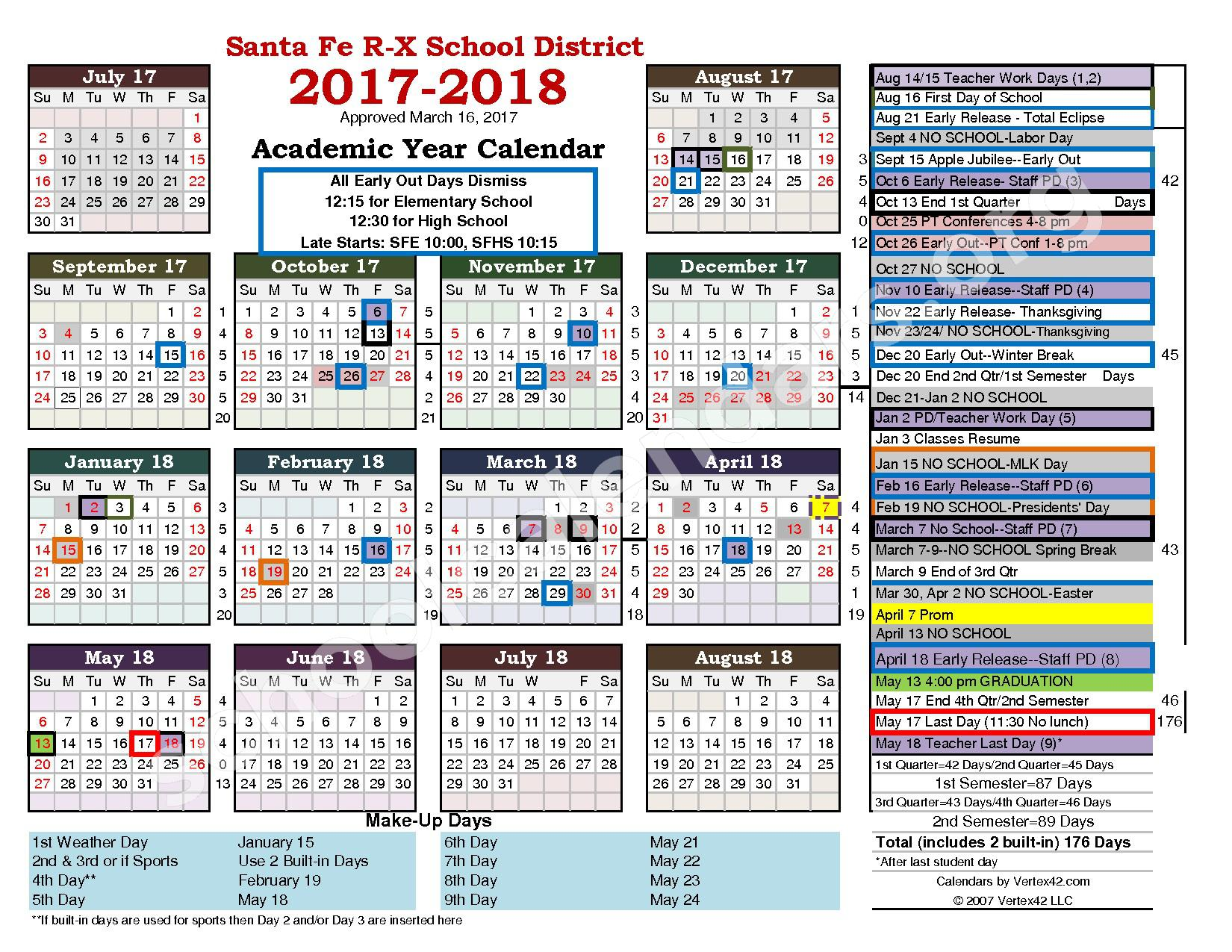 2017 - 2018 District Calendar – Santa Fe R-X School District – page 1
