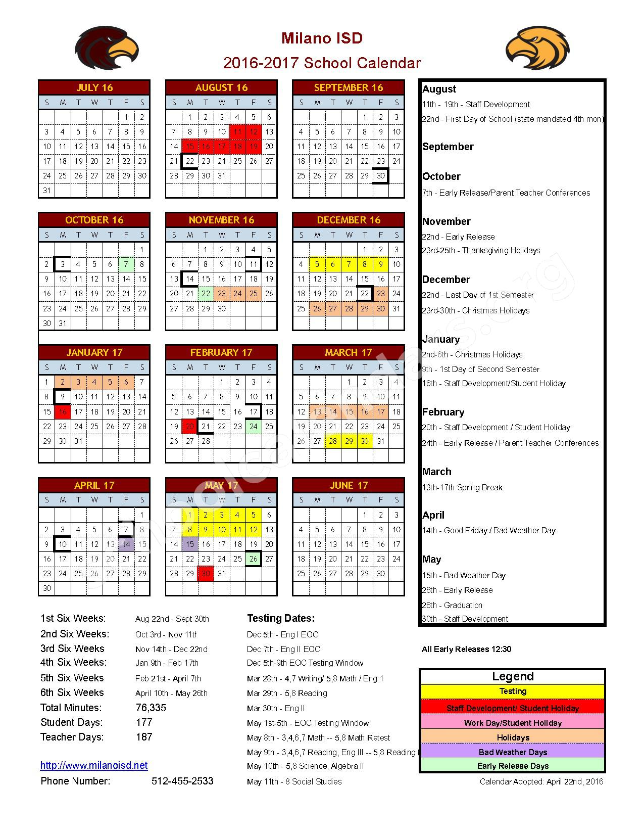 2016 - 2017 District Calendar – Milano Independent School District – page 1