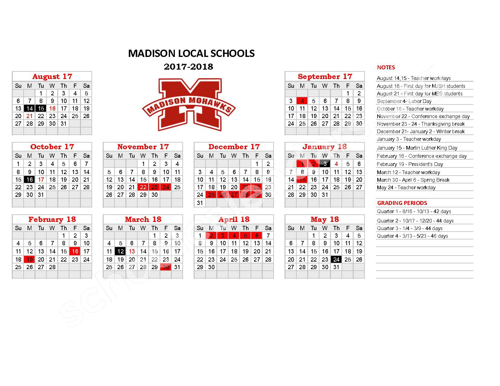 2017 - 2018 District Calendar – Madison High School – page 1