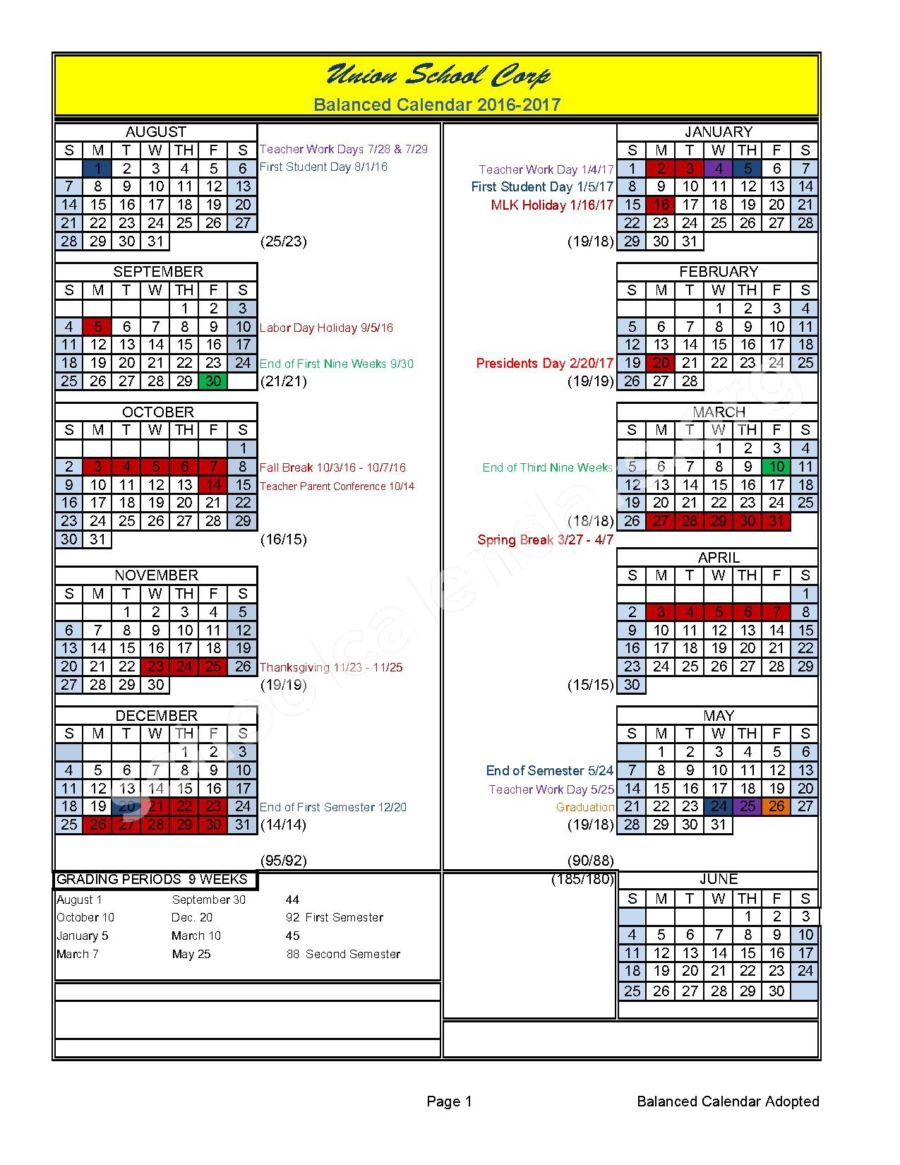 2016 - 2017 School Calendar – Union School Corporation – page 1