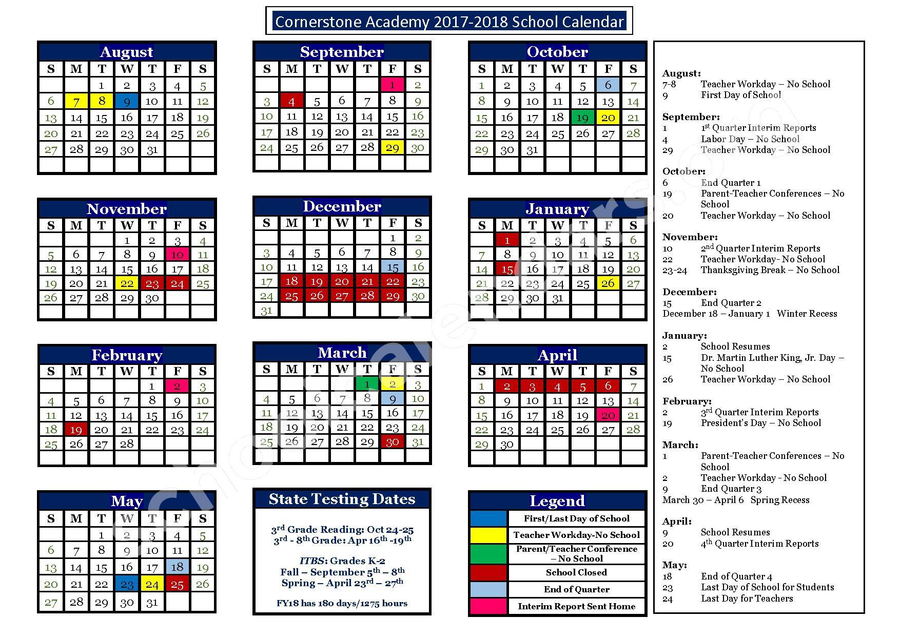 2017 - 2018 Cornerstone Calendar – Cornerstone Academy – page 1