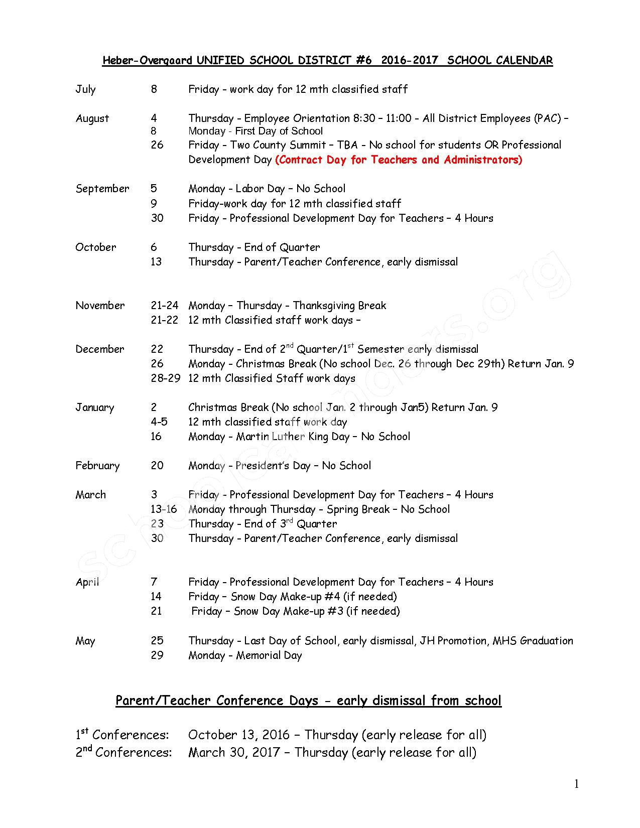 2016 - 2017 School Calendar – Heber-Overgaard Unified School District #6 – page 1