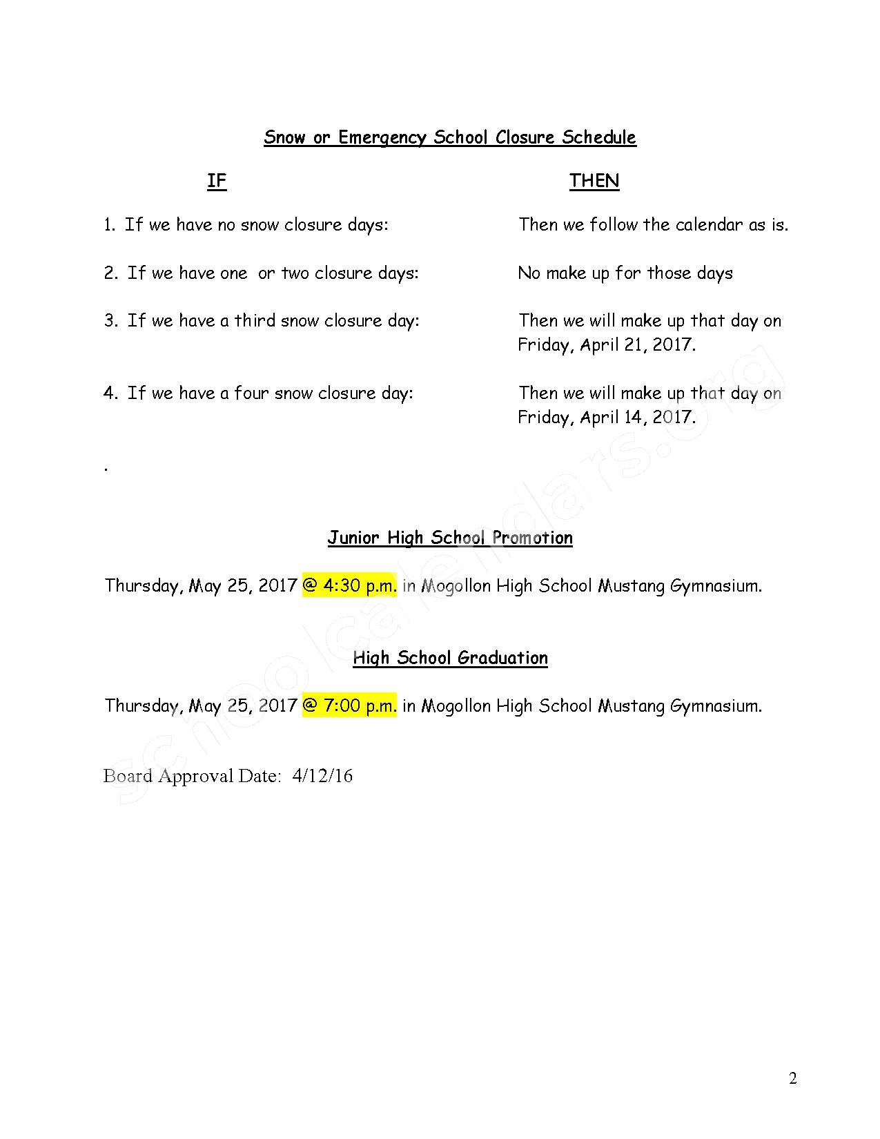 2016 - 2017 School Calendar – Heber-Overgaard Unified School District #6 – page 2