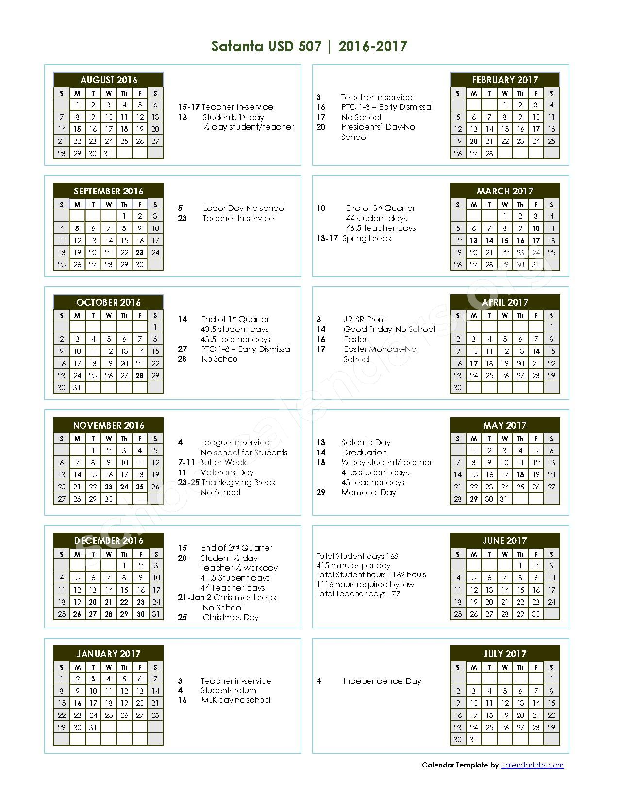 2016 - 2017 School Calendar – Satanta Unified School District 507 – page 1